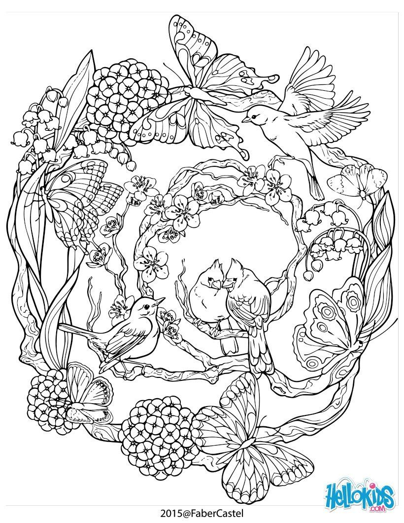 Coloriage : Mandala À Motifs Naturels | Mandalas À Colorier à Jeux De Coloriage De Rosace