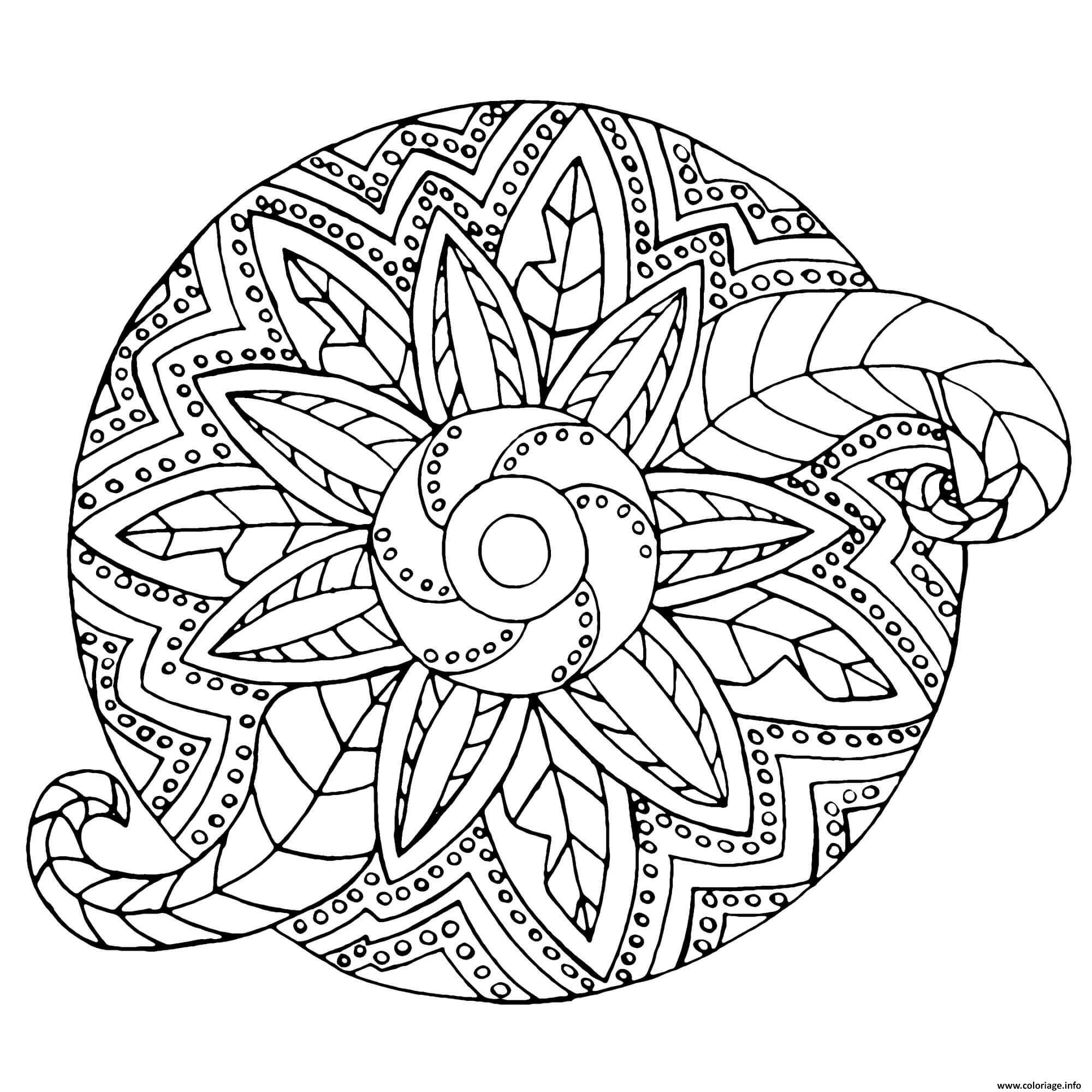 Coloriage Mandala Adulte Fleur Vegetal Dessin tout Mandala À Colorier Et À Imprimer Gratuit