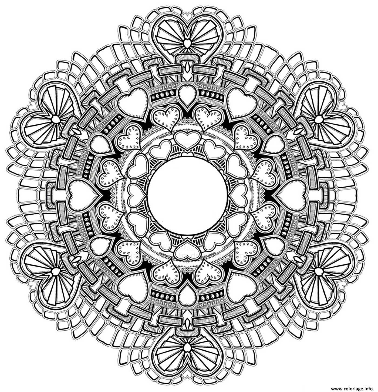 Coloriage Mandala Amour Saint Valentin Dessin avec Dessiner Un Mandala