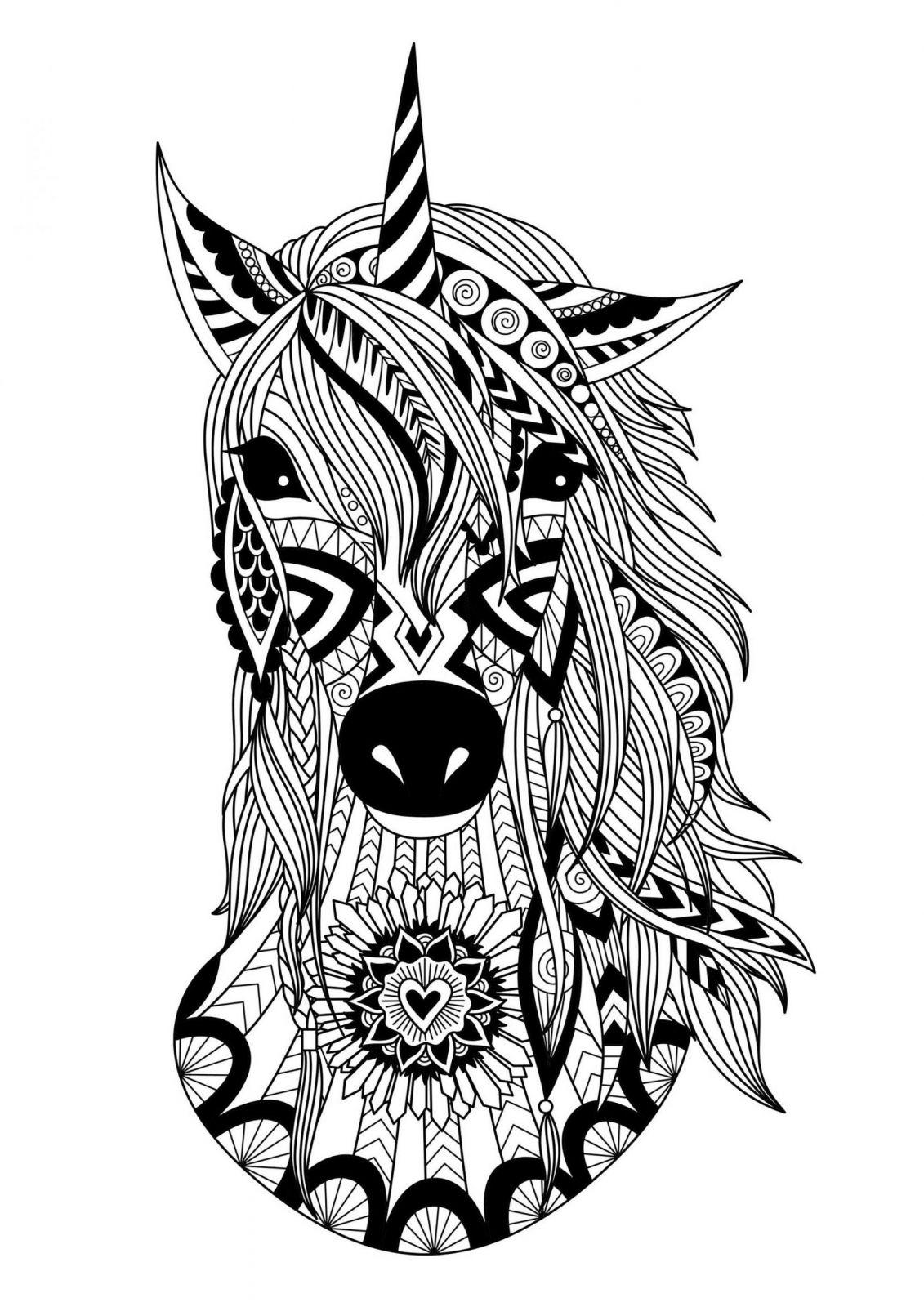 Coloriage Mandala Animaux Licorne | Coloriages À Imprimer destiné Jeux De Coloriage De Rosace
