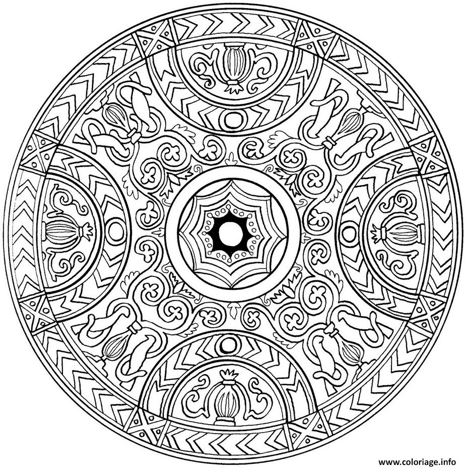 Coloriage Mandala Avec Couronnes Medieval Dessin dedans Coloriage De Mandala Difficile A Imprimer