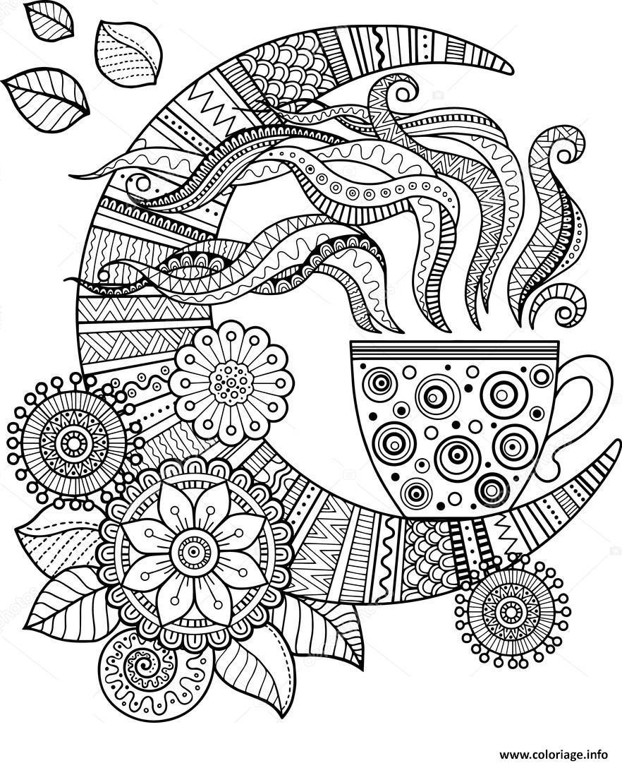 Coloriage Mandala Cafe Tasse Pour Adulte Dessin concernant Dessin A Imprimer Pour Adulte