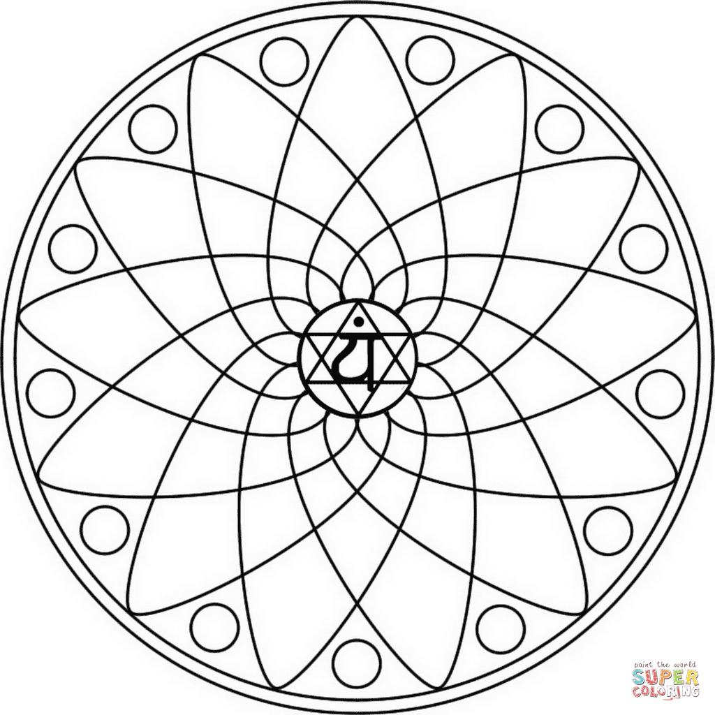 Coloriage - Mandala Chakra Anahata | Coloriages À Imprimer tout Mandala À Colorier Et À Imprimer Gratuit