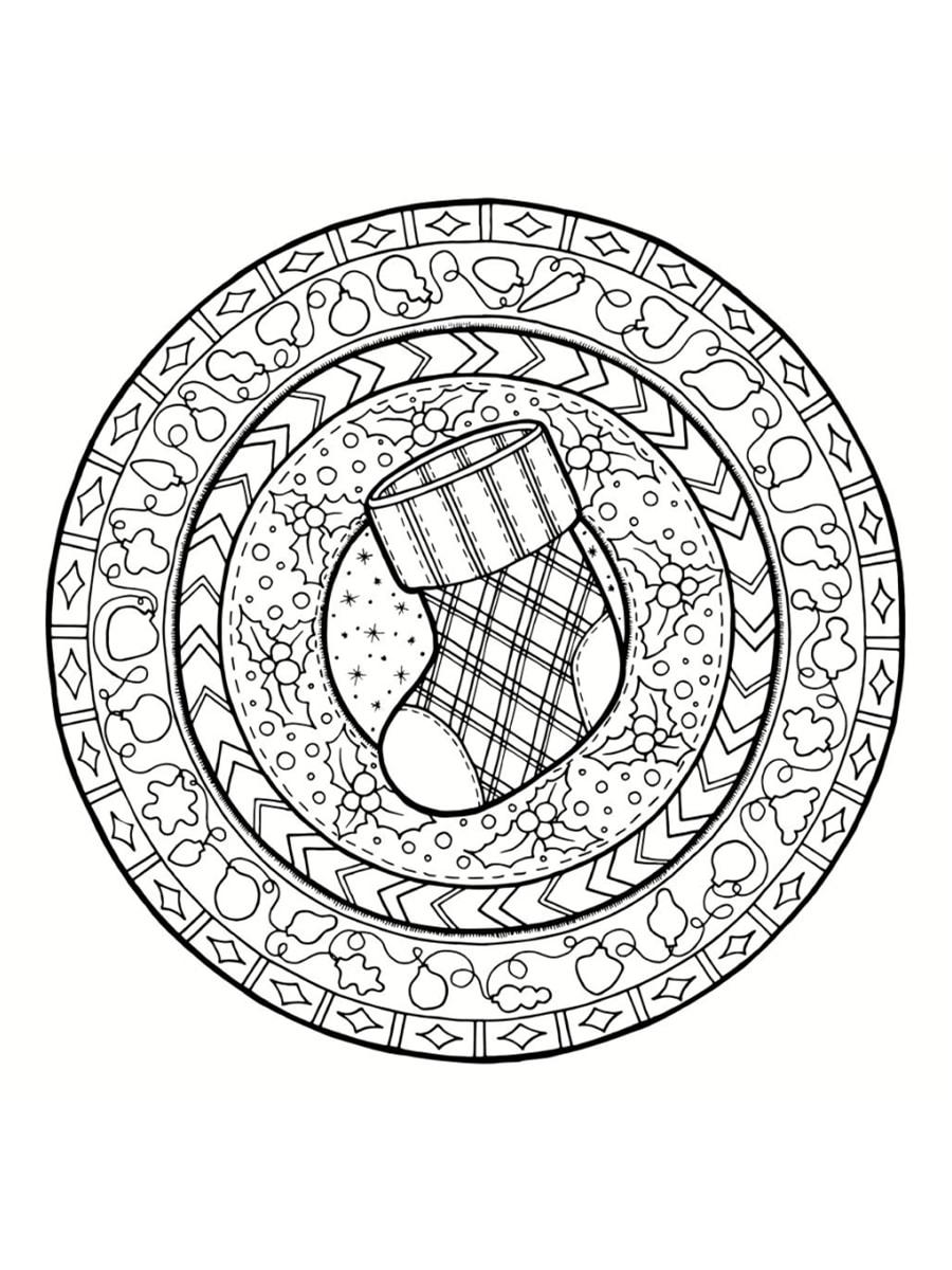 Coloriage Mandala De Noël : 30 Dessins À Imprimer destiné Coloriage De Mandala Difficile A Imprimer