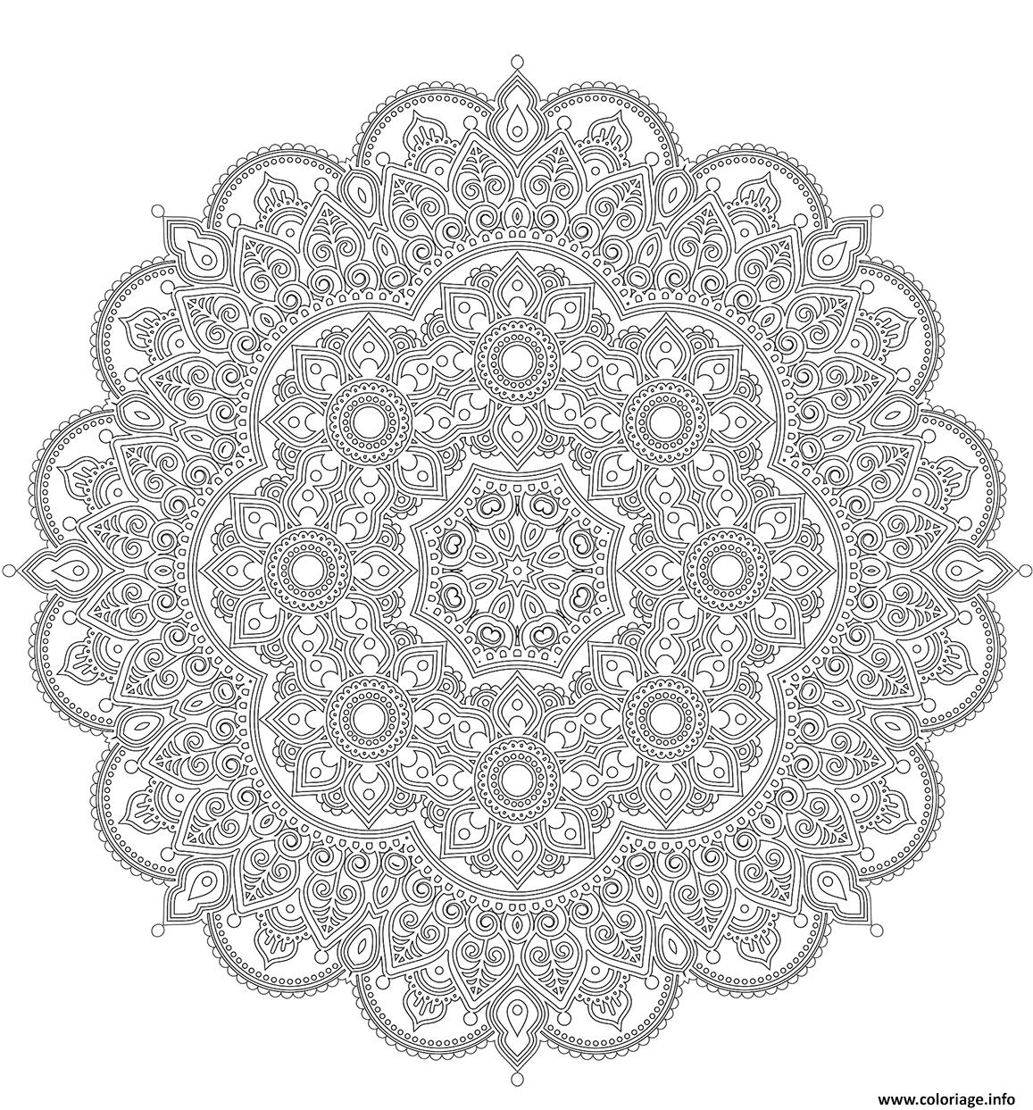 Coloriage Mandala Difficile Style Oriental Dessin concernant Coloriage De Mandala Difficile A Imprimer