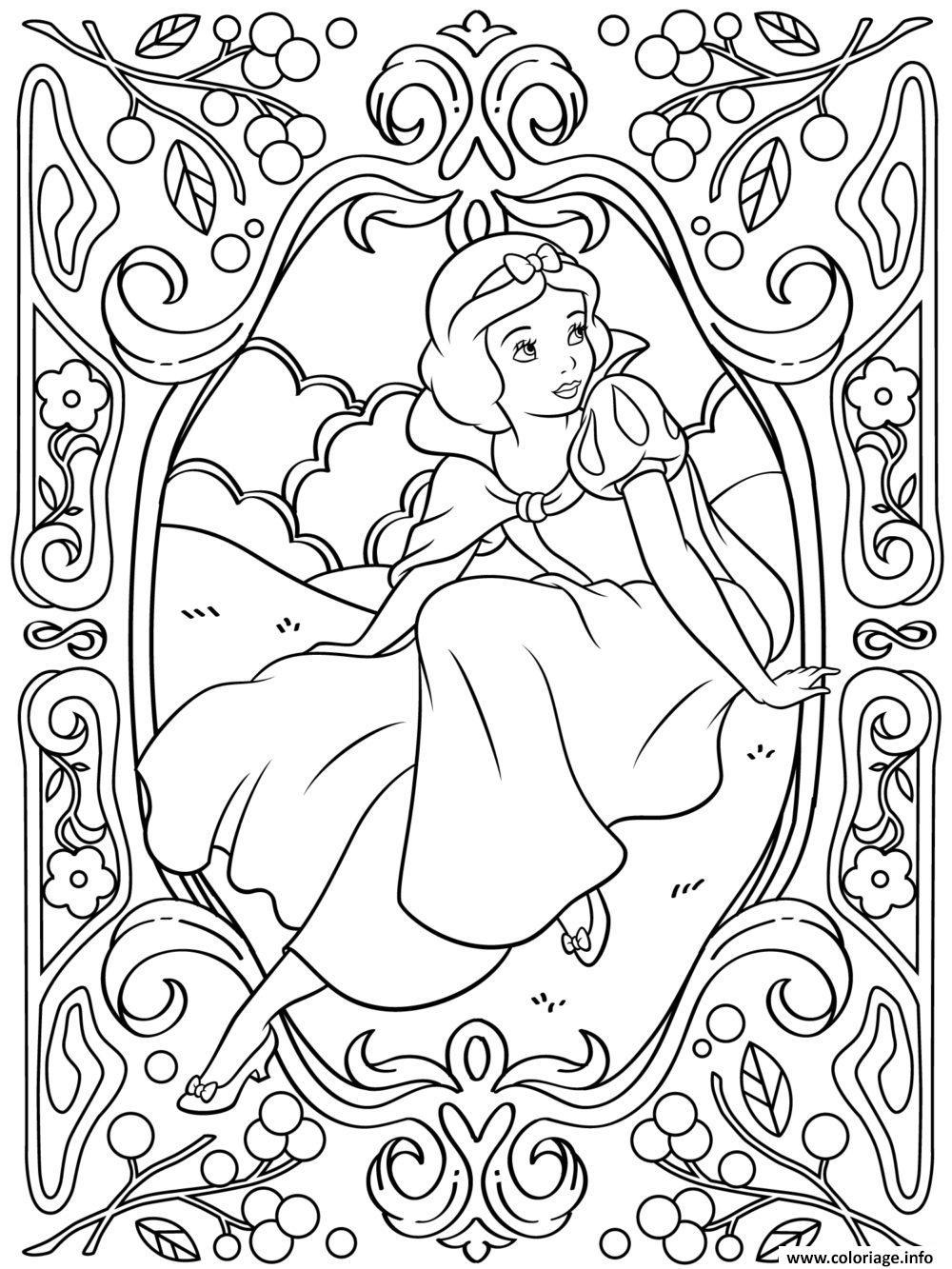 Coloriage Mandala Disney Princesse Blanche Neige Dessin pour Coloriage Princesses Disney À Imprimer