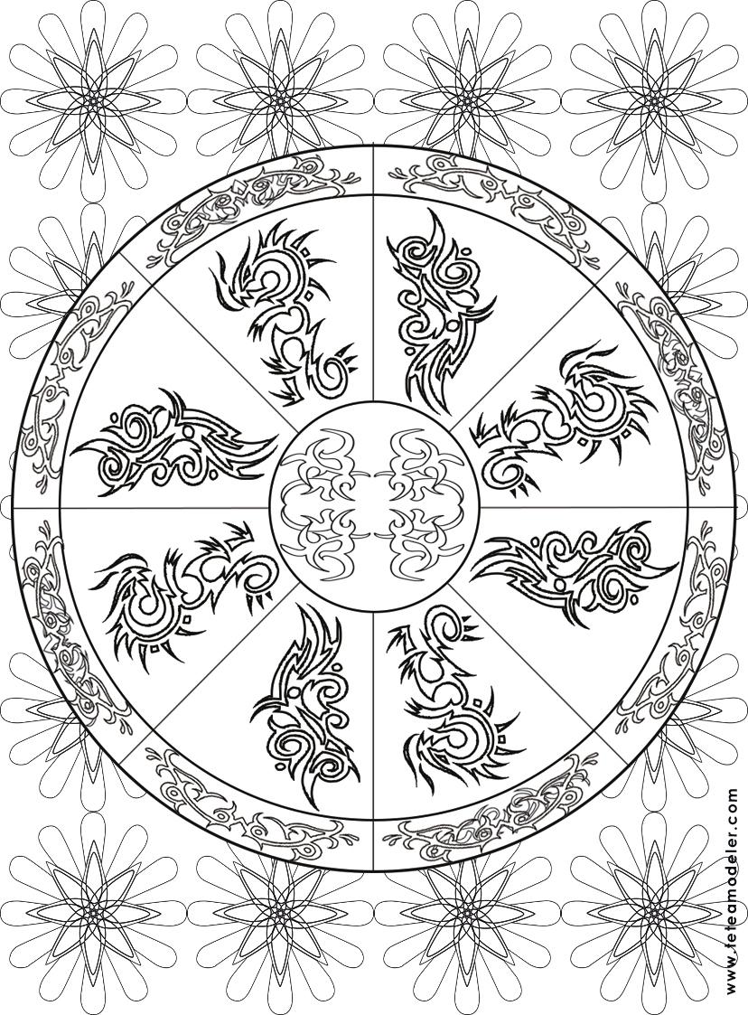 Coloriage Mandala Feuilles. Coloriage Mandala Carre Par concernant Jeux De Coloriage De Rosace