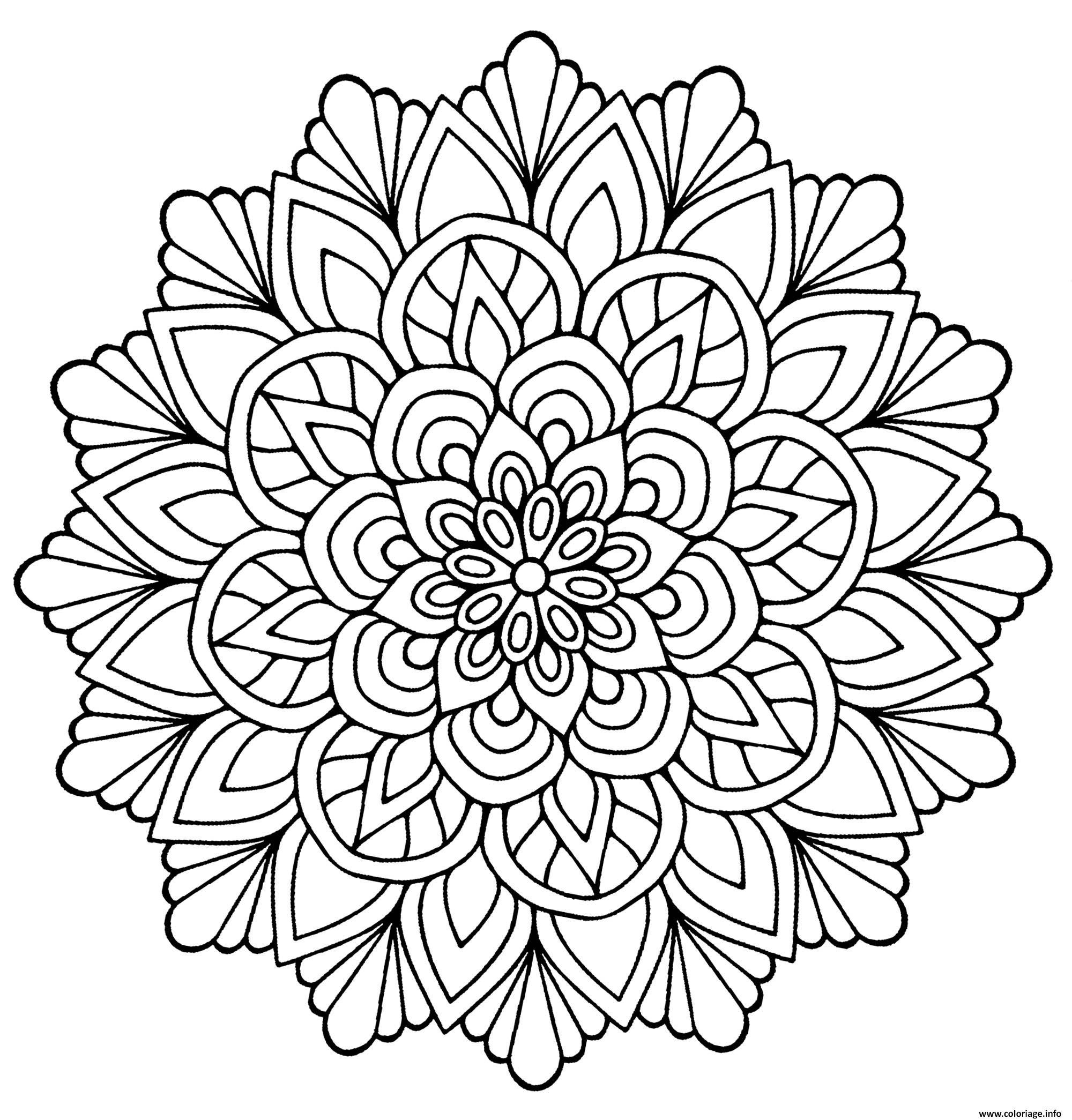 Coloriage Mandala Fleur Avec Feuilles Dessin destiné Dessin A Colorier De Fleur