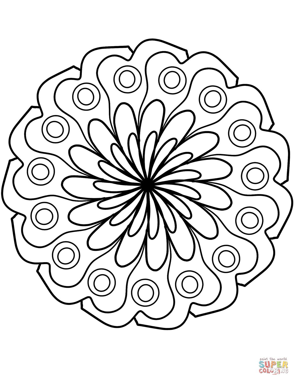 Coloriage - Mandala Fleur Simple | Coloriages À Imprimer avec Mandala Facile À Imprimer
