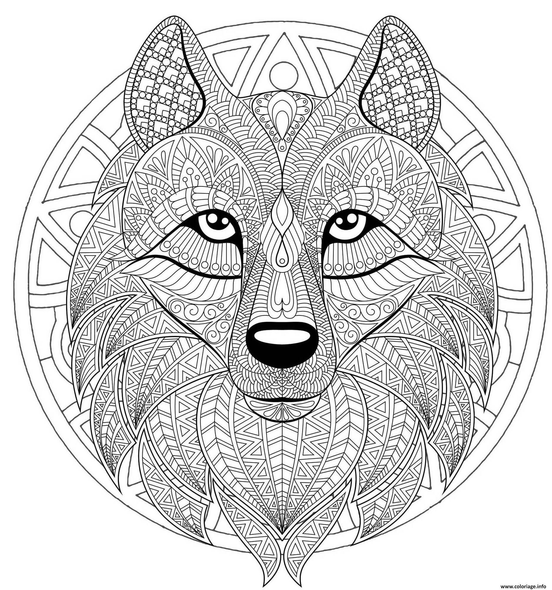Coloriage Mandala Loup Difficile Complexe Beau Loup Dessin intérieur Coloriage De Mandala Difficile A Imprimer