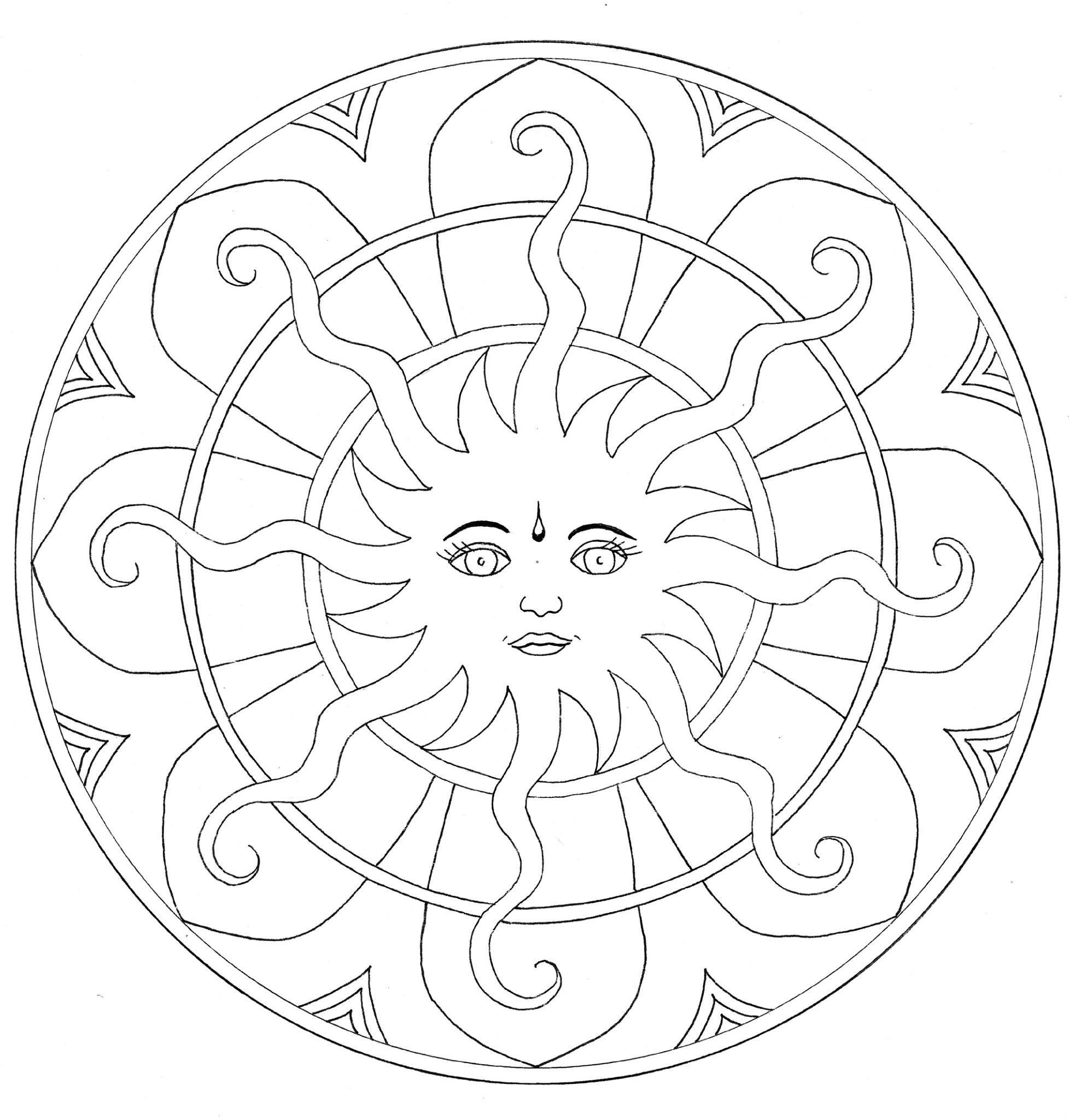 Coloriage Mandala Soleil À Imprimer destiné Rosace A Imprimer
