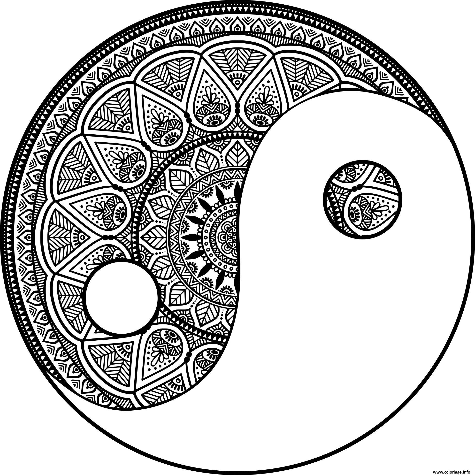 Coloriage Mandala Zen Yin Et Yang Philosophie Chinoise Dessin tout Mandala À Colorier Et À Imprimer Gratuit