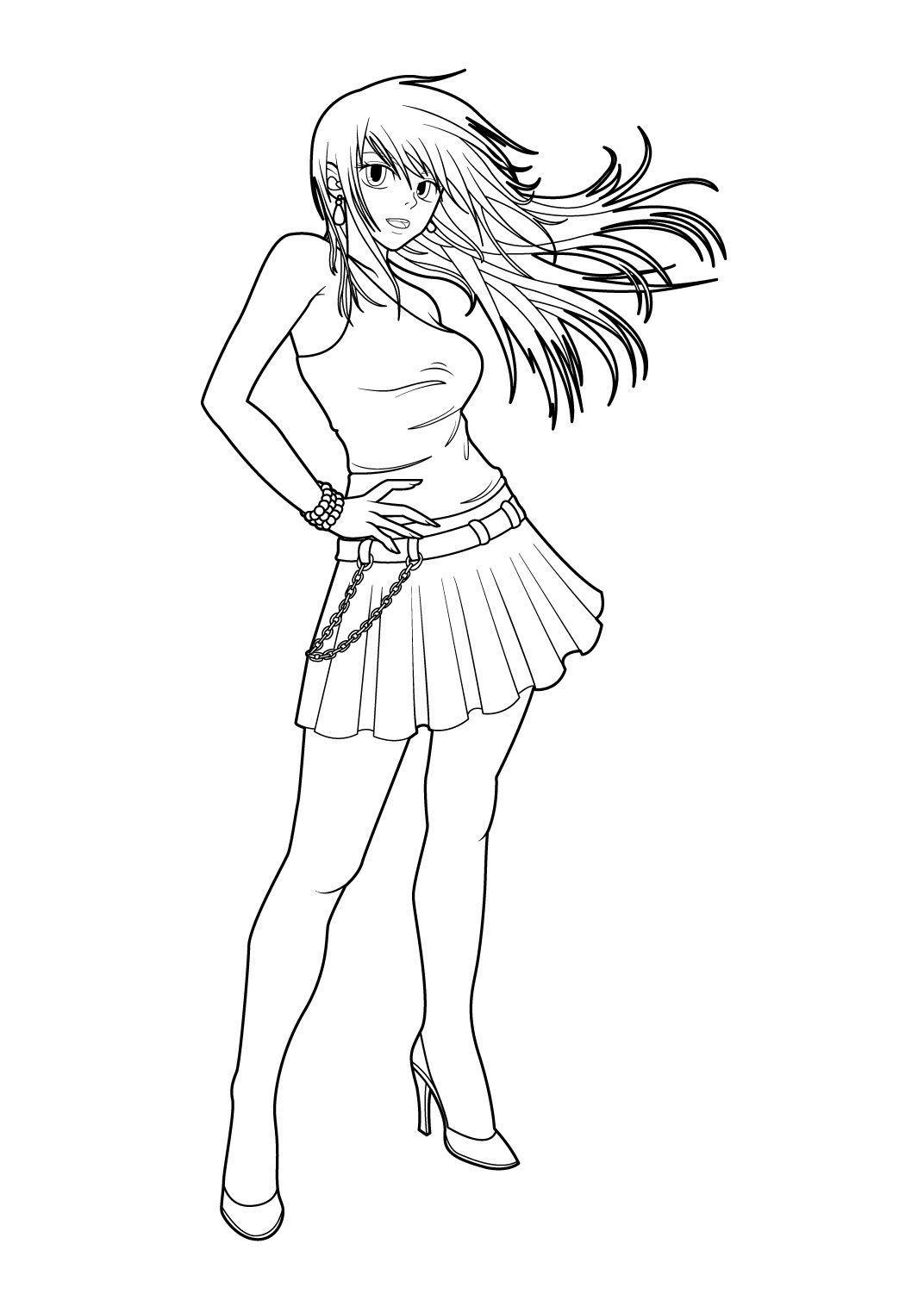 Coloriage Manga 10 - Coloriage Mangas - Coloriages Personnages intérieur Personnage A Colorier