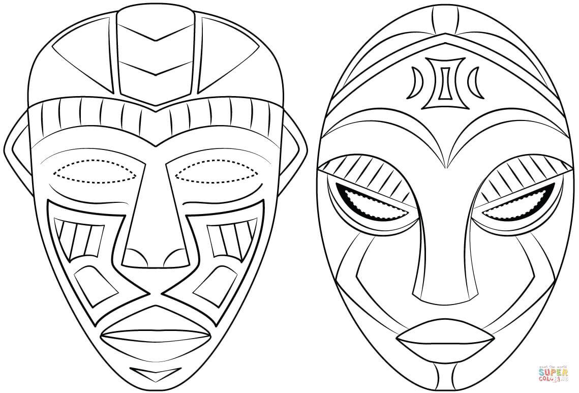 Coloriage - Masque Africain | Coloriages À Imprimer Gratuits pour Coloriage Afrique À Imprimer