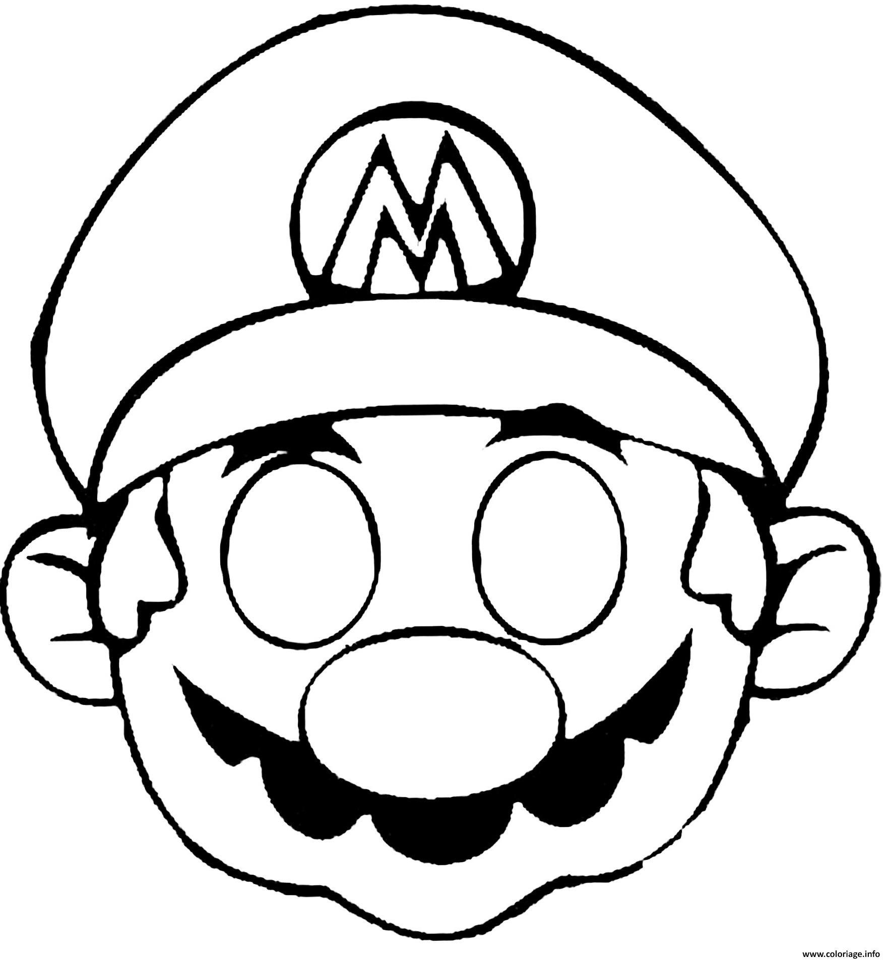 Coloriage Masque De Mario Dessin dedans Masque Enfant A Colorier