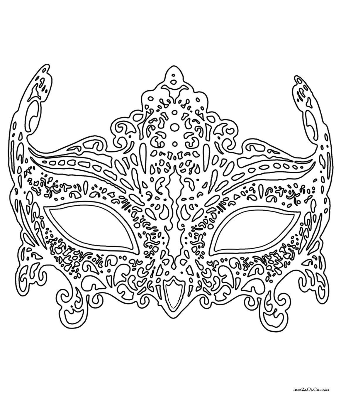 Coloriage Masque De Venise En Dentelle … | Coloriage Masque concernant Masque Loup A Colorier