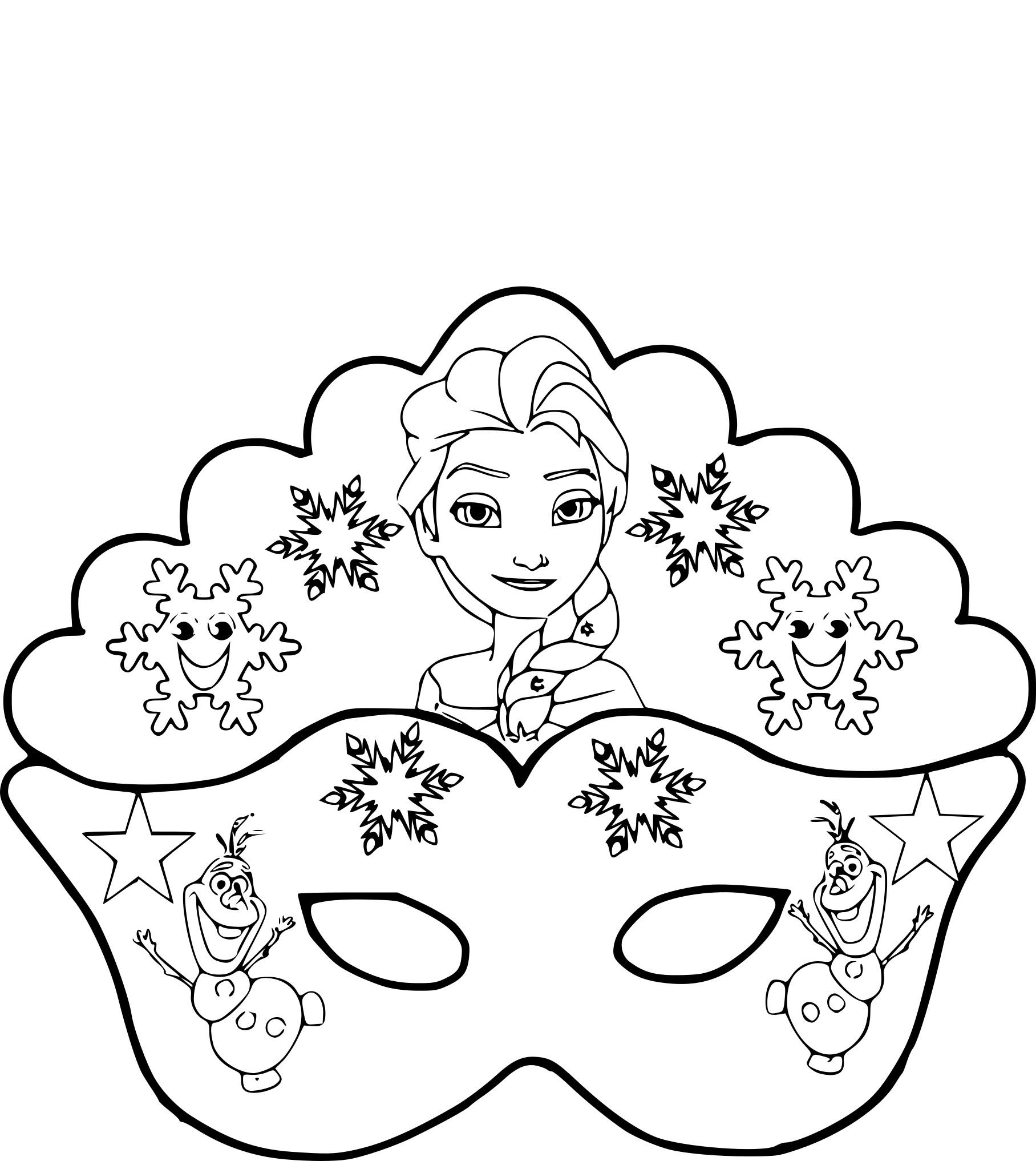 Coloriage Masque La Reine Des Neiges À Imprimer Sur pour Masque Enfant A Colorier