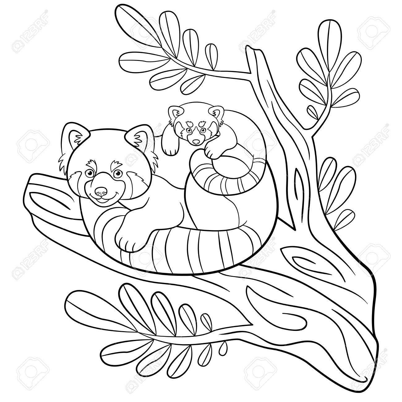 Coloriage. Mère Panda Rouge Est Assis Sur La Branche D'arbre Avec Son Petit  Bébé Et Sourires Mignon. encequiconcerne Panda À Colorier