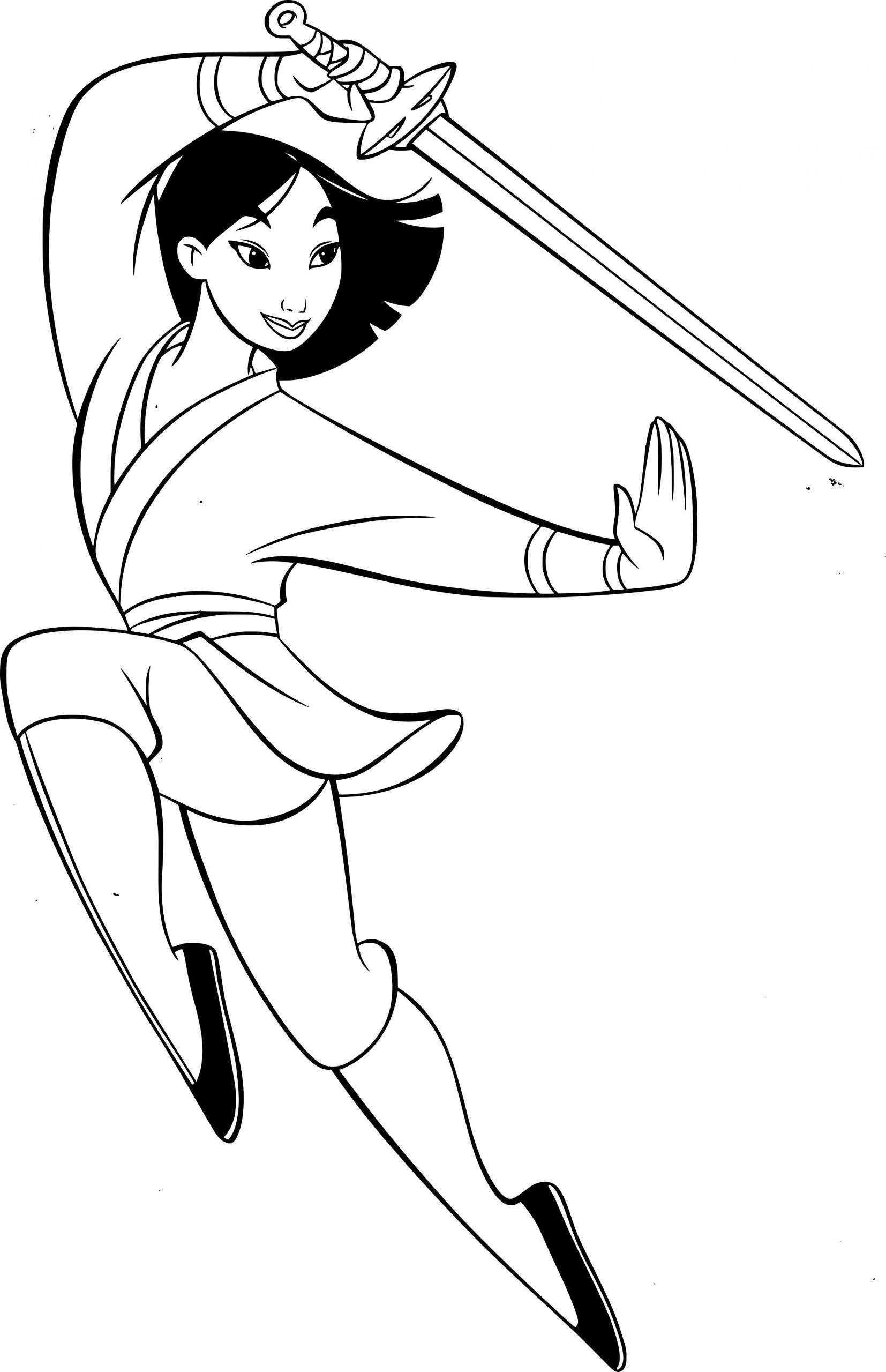 Coloriage Mulan Avec Une Épée À Imprimer Sur Coloriages encequiconcerne Coloriage D Épée