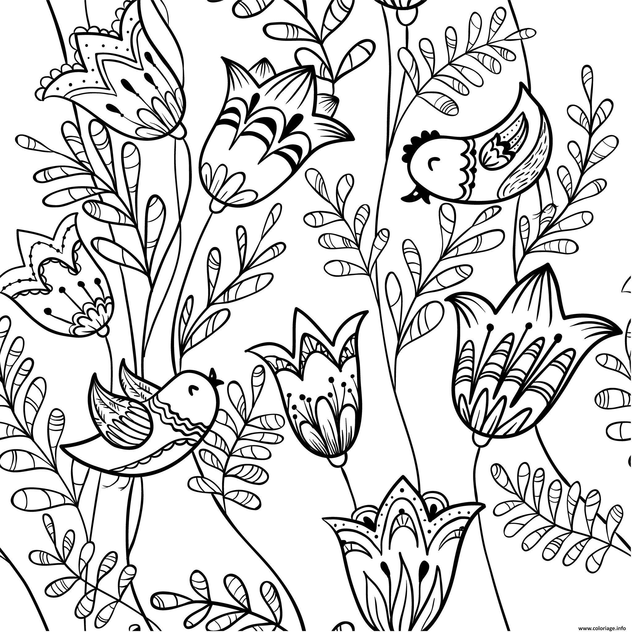 Coloriage Nature Fleurs Oiseaux Adulte Dessin tout Dessin Printemps Paysage