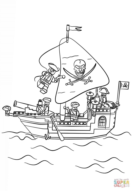 Coloriage - Navire Pirate Lego | Coloriages À Imprimer Gratuits à Dessin A Imprimer De Pirate