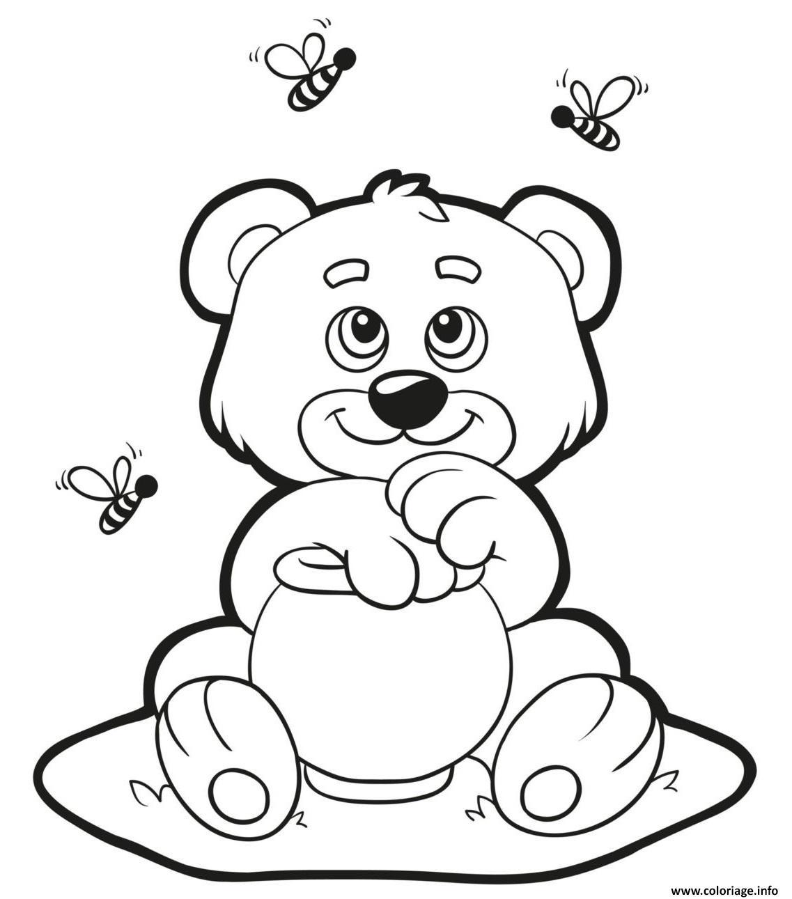 Coloriage Ourson Bear Aime Le Miel Dessin à Ourson A Colorier Et Imprimer