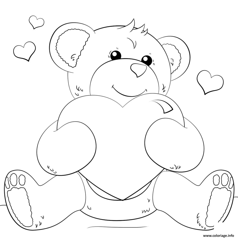 Coloriage Ourson Teddy Avec Un Gros Coeur Dessin intérieur Ourson A Colorier Et Imprimer