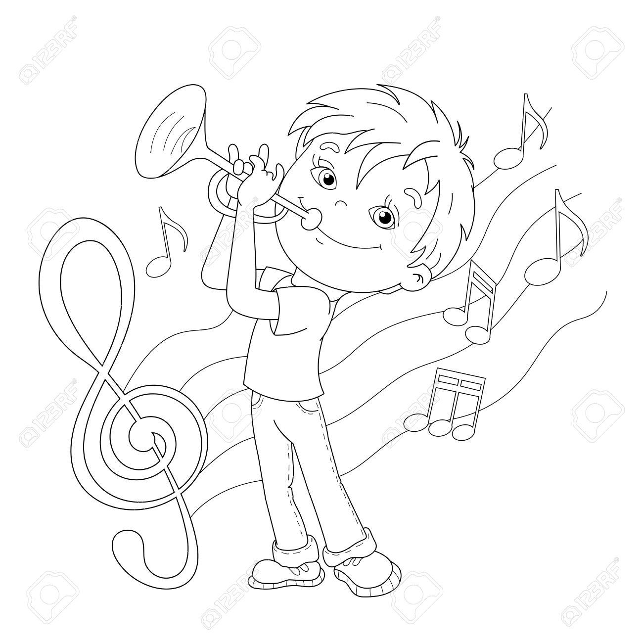 Coloriage Outline Of Boy De Dessin Animé Jouant De La Trompette Avec La  Mélodie Et De La Musique. Livre De Coloriage Pour Les Enfants avec Trompette À Colorier