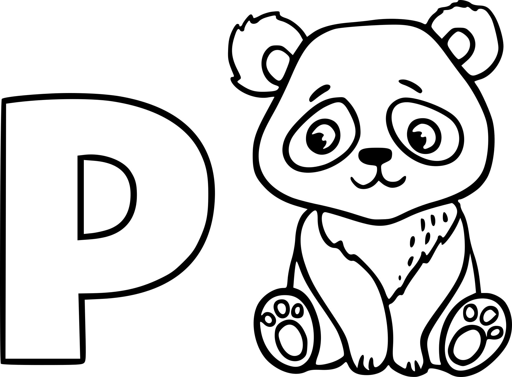 Coloriage P Comme Panda À Imprimer Sur Coloriages destiné Panda À Colorier