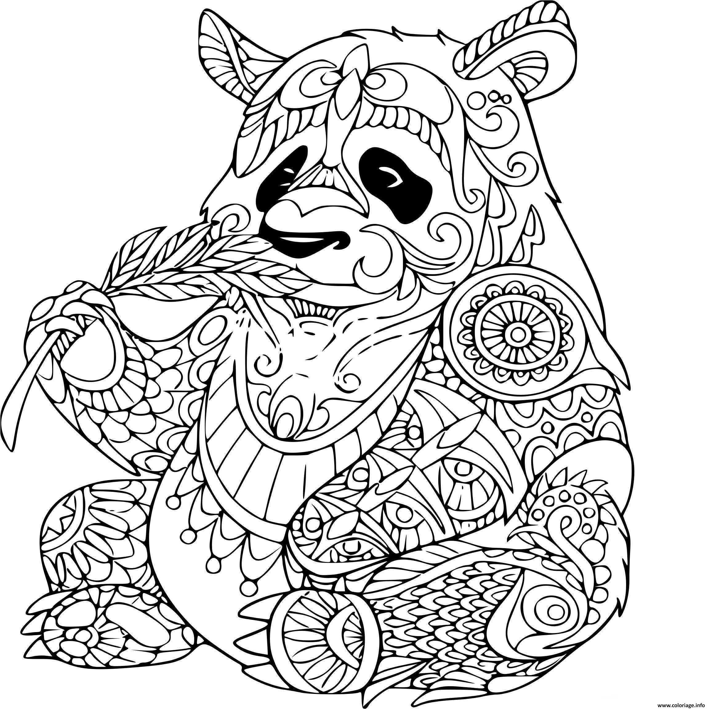 Coloriage Panda Adulte Animaux Dessin intérieur Panda À Colorier