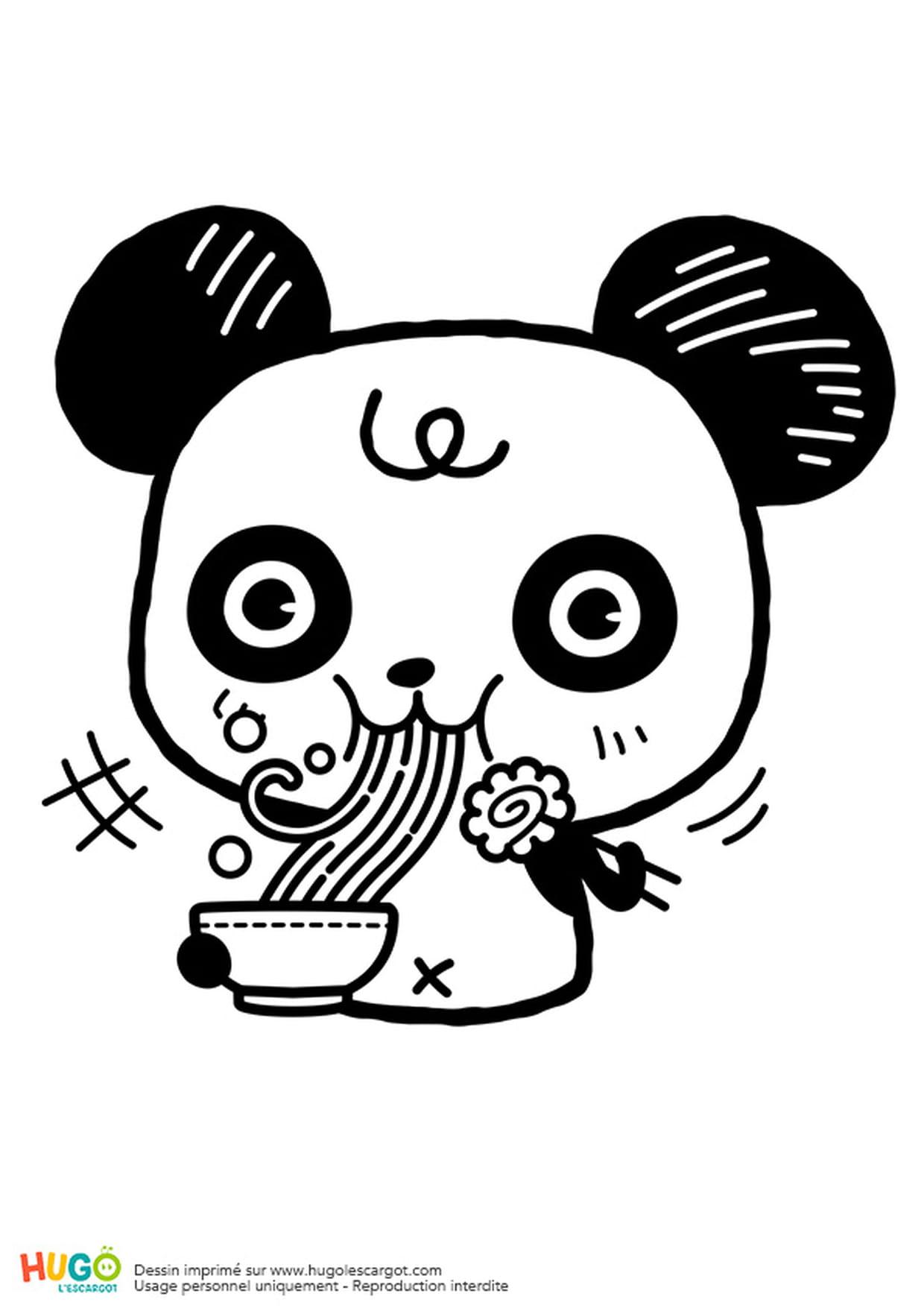 Coloriage Panda Et Bol De Ramen Kawaii En Ligne Gratuit À concernant Panda À Colorier