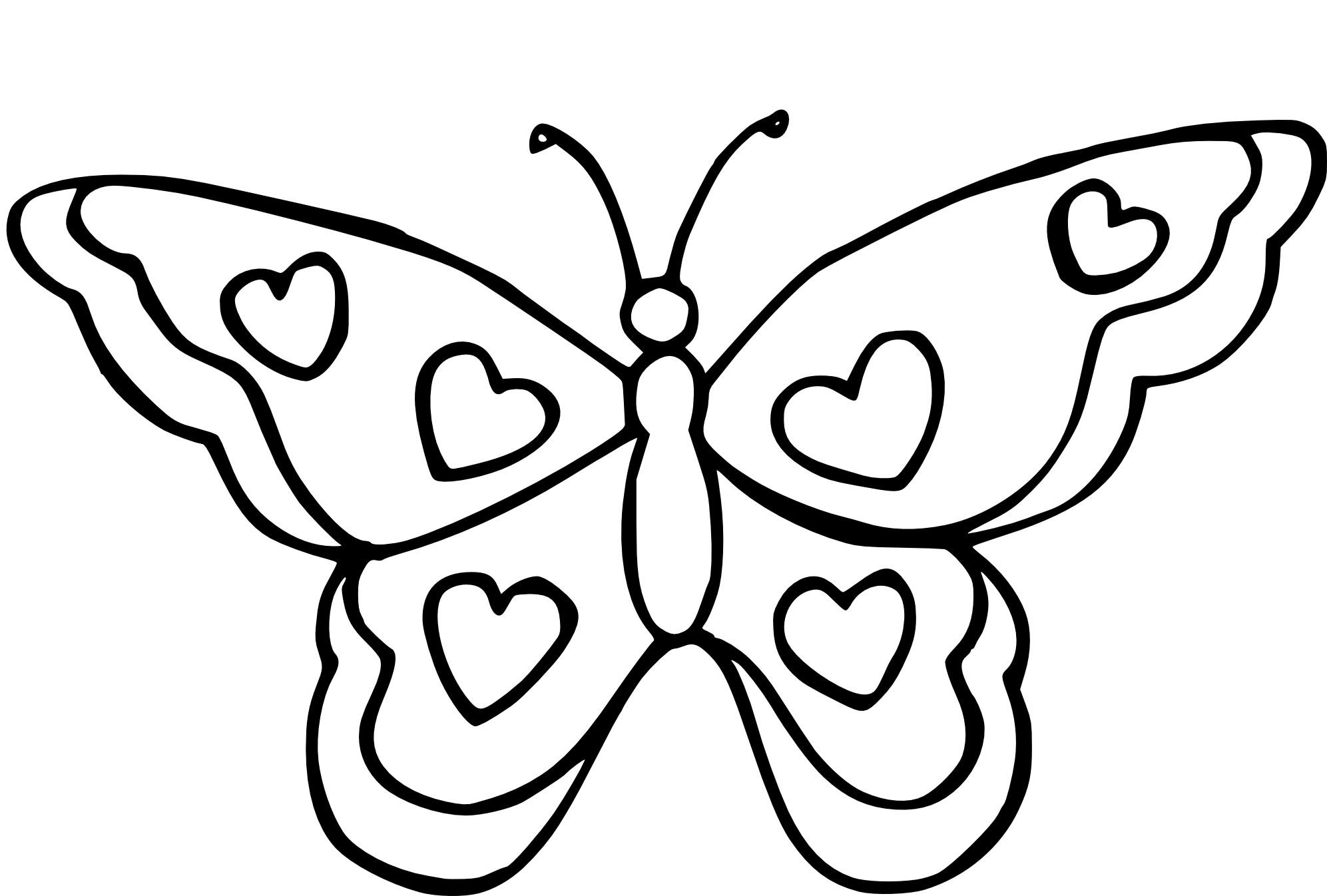 Coloriage Papillon Coeur À Imprimer destiné Dessin Papillon À Colorier