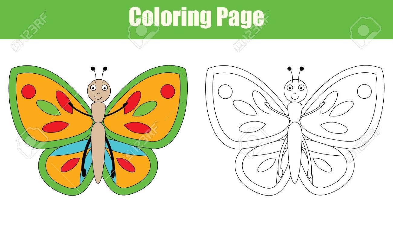 Coloriage Papillon Jeu De Dessin Pour Les Enfants. Couleurs De Copie  Colorier Activité Livre Pour Enfants tout Dessin Papillon À Colorier