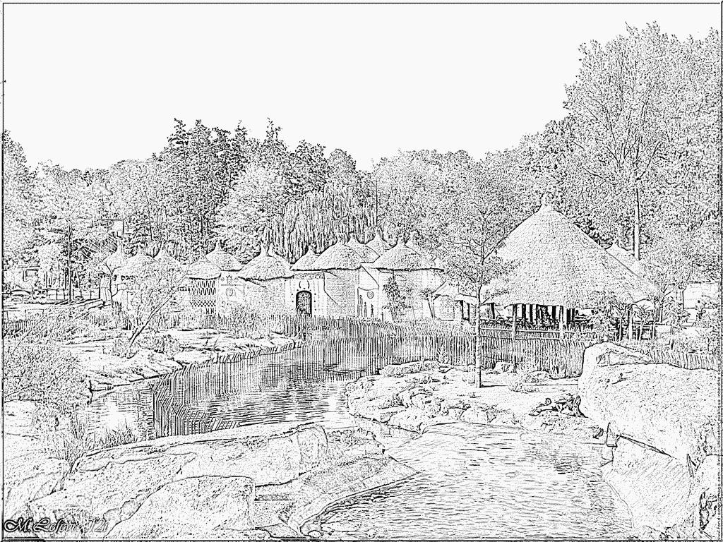 Coloriage Parc Paradisio 12I Village Africain Cpf 1662 À intérieur Dessin Africain A Colorier
