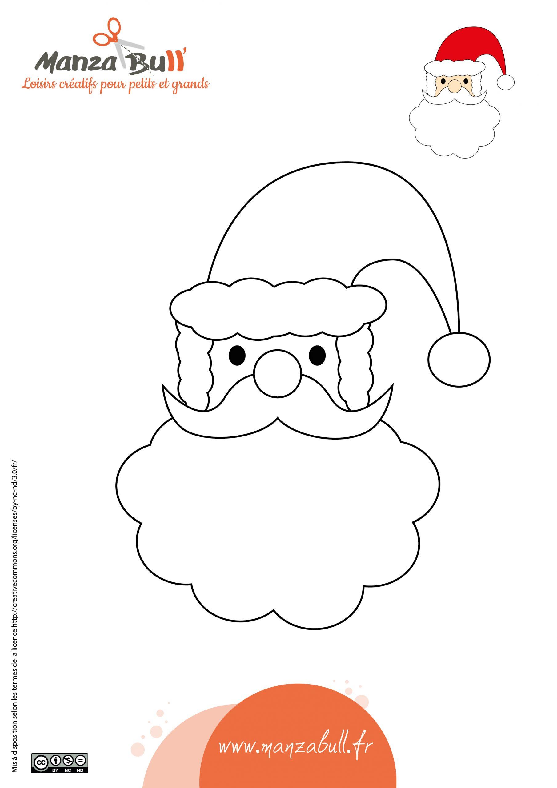 Coloriage Père Noël À Imprimer - Manzabull' avec Coloriage De Père Noel Gratuit A Imprimer