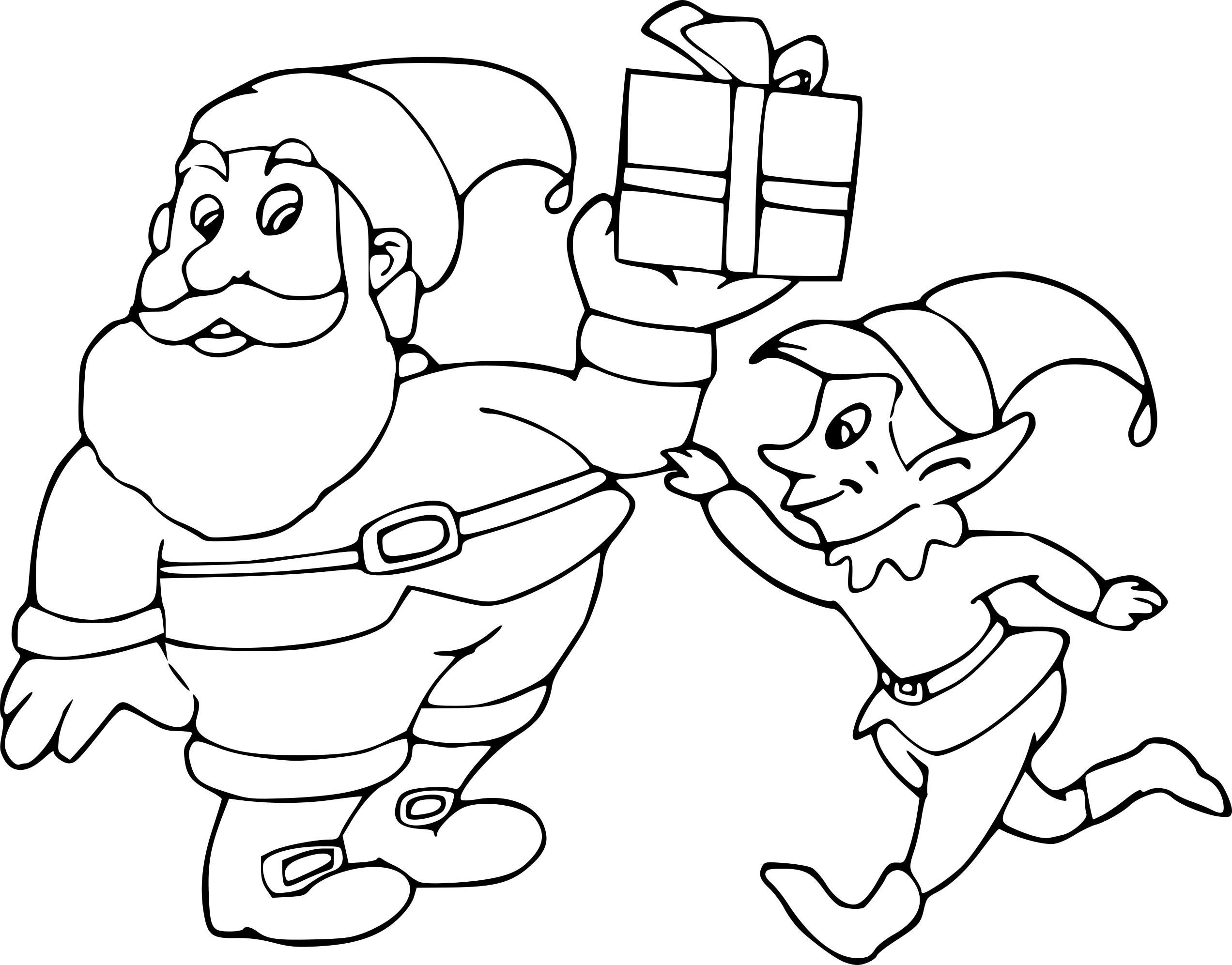 Coloriage Père Noel Et Lutin À Imprimer Sur Coloriages destiné Dessins Pere Noel Imprimer