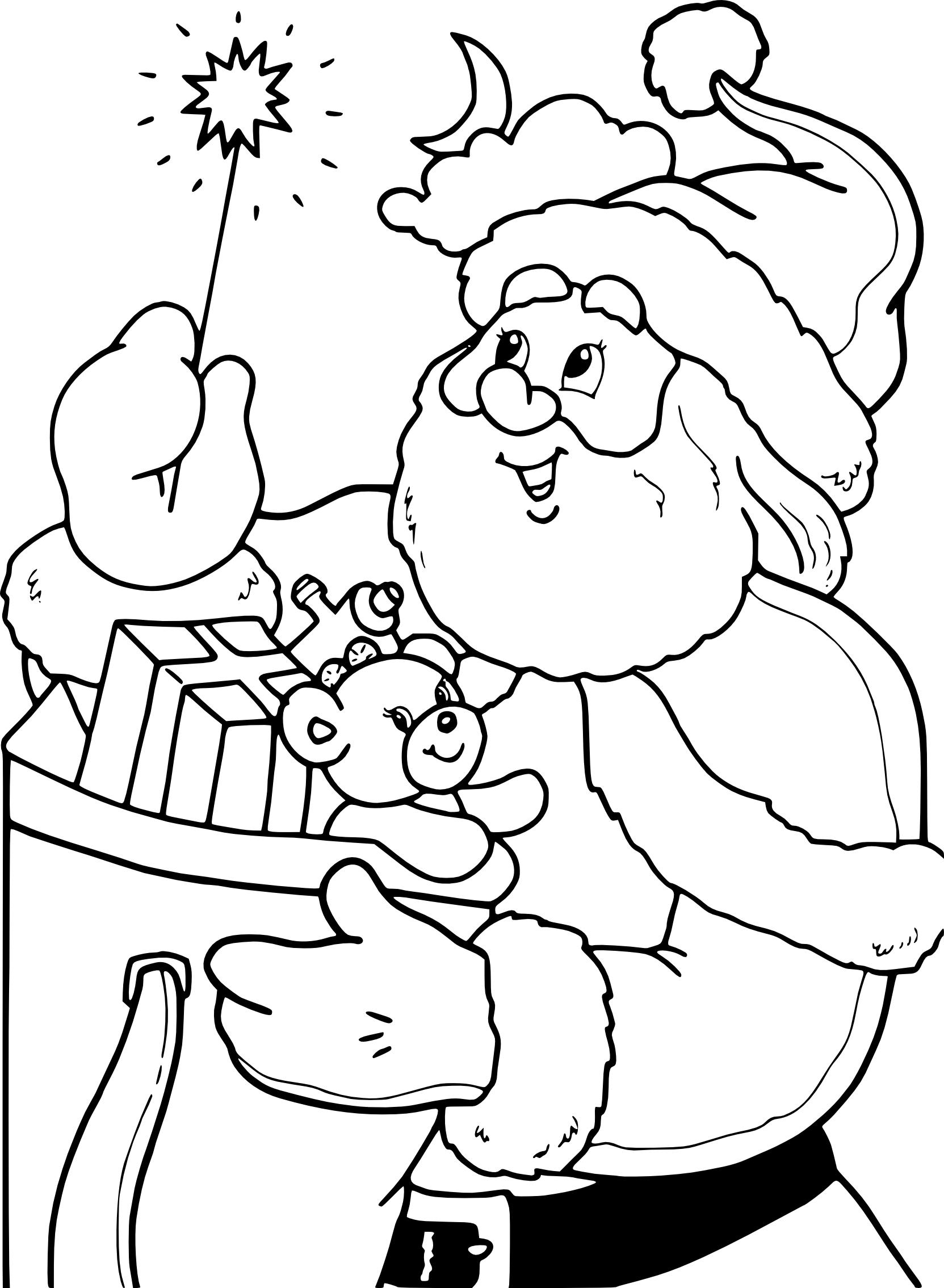 Coloriage Père Noël Et Une Baguette Magique À Imprimer pour Coloriage Pere Noel À Imprimer Gratuit