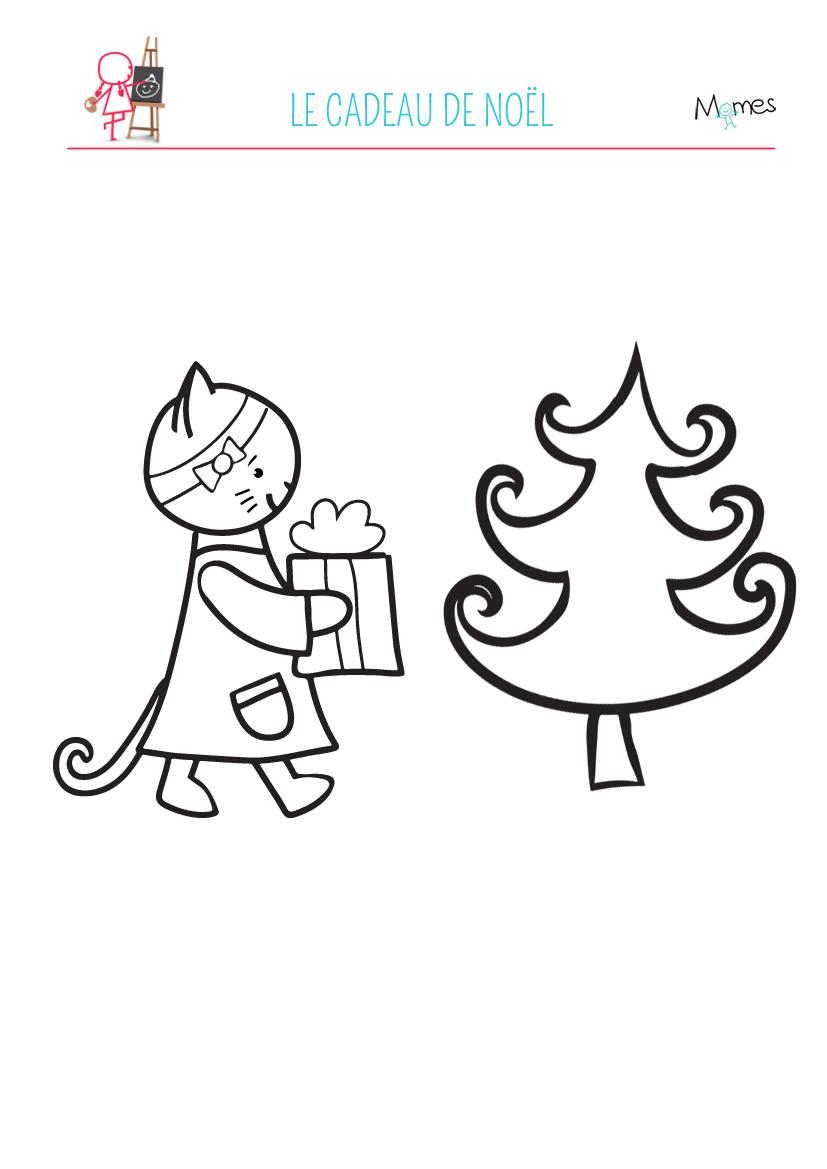 Coloriage Petit Chaton Et Le Cadeau De Noël - Momes dedans Coloriage De Chat De Noel
