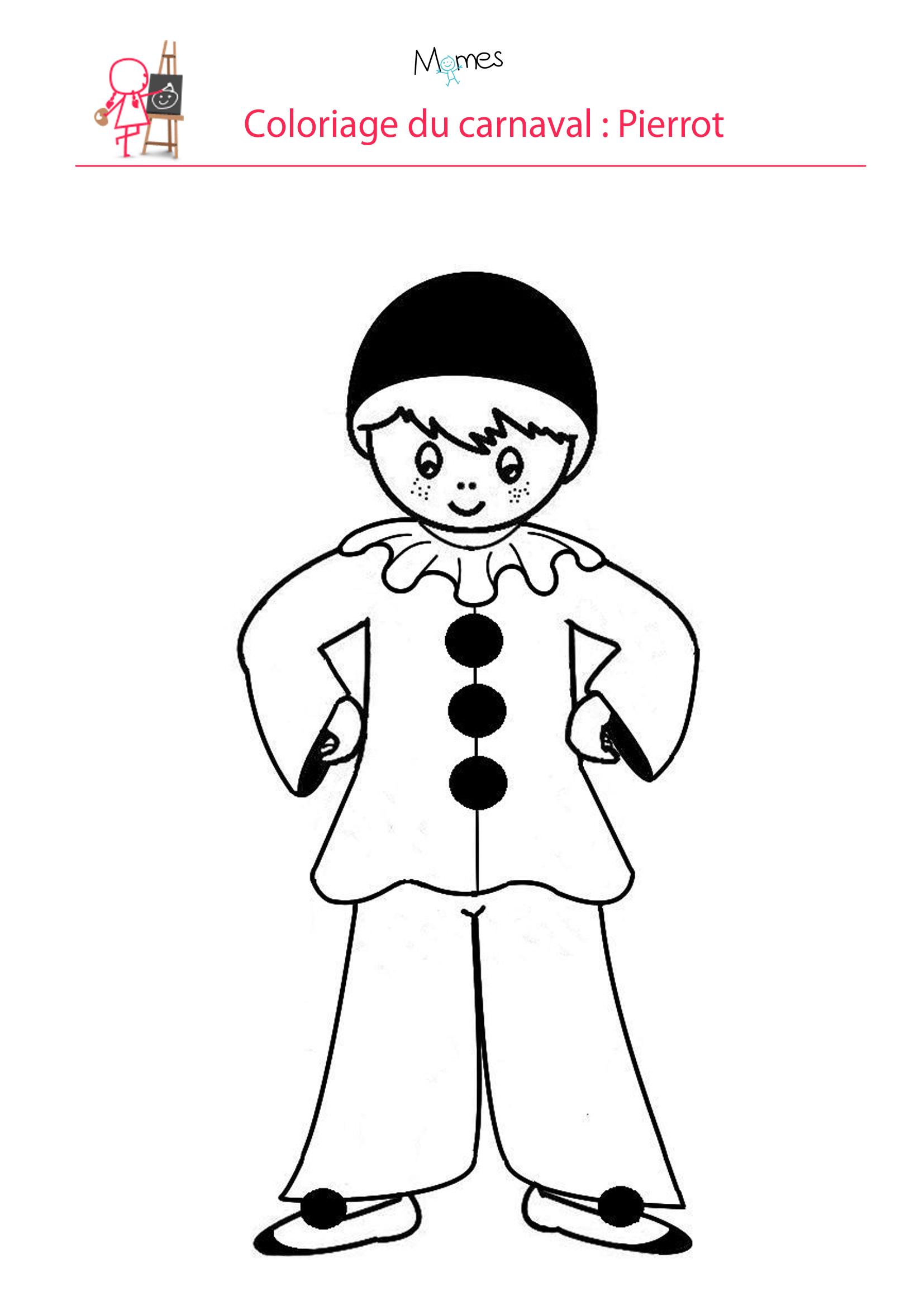 Coloriage Pierrot - Momes avec Arlequin A Colorier