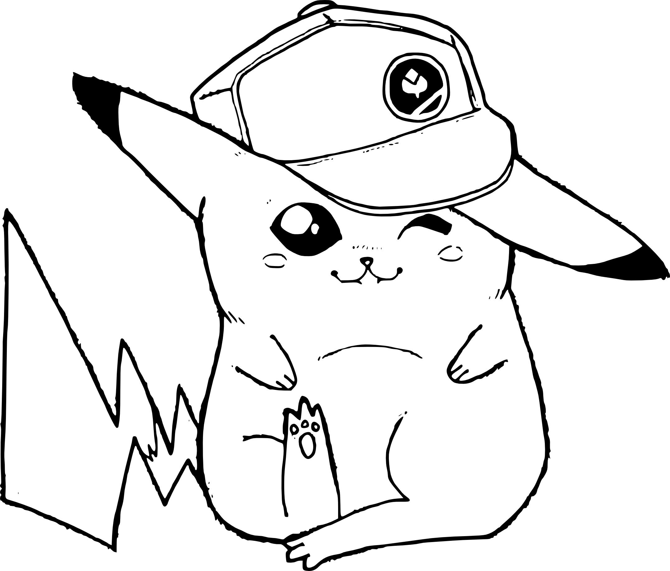 Coloriage Pikachu Avec Une Casquette De Baseball destiné Dessin De Pikachu Facile