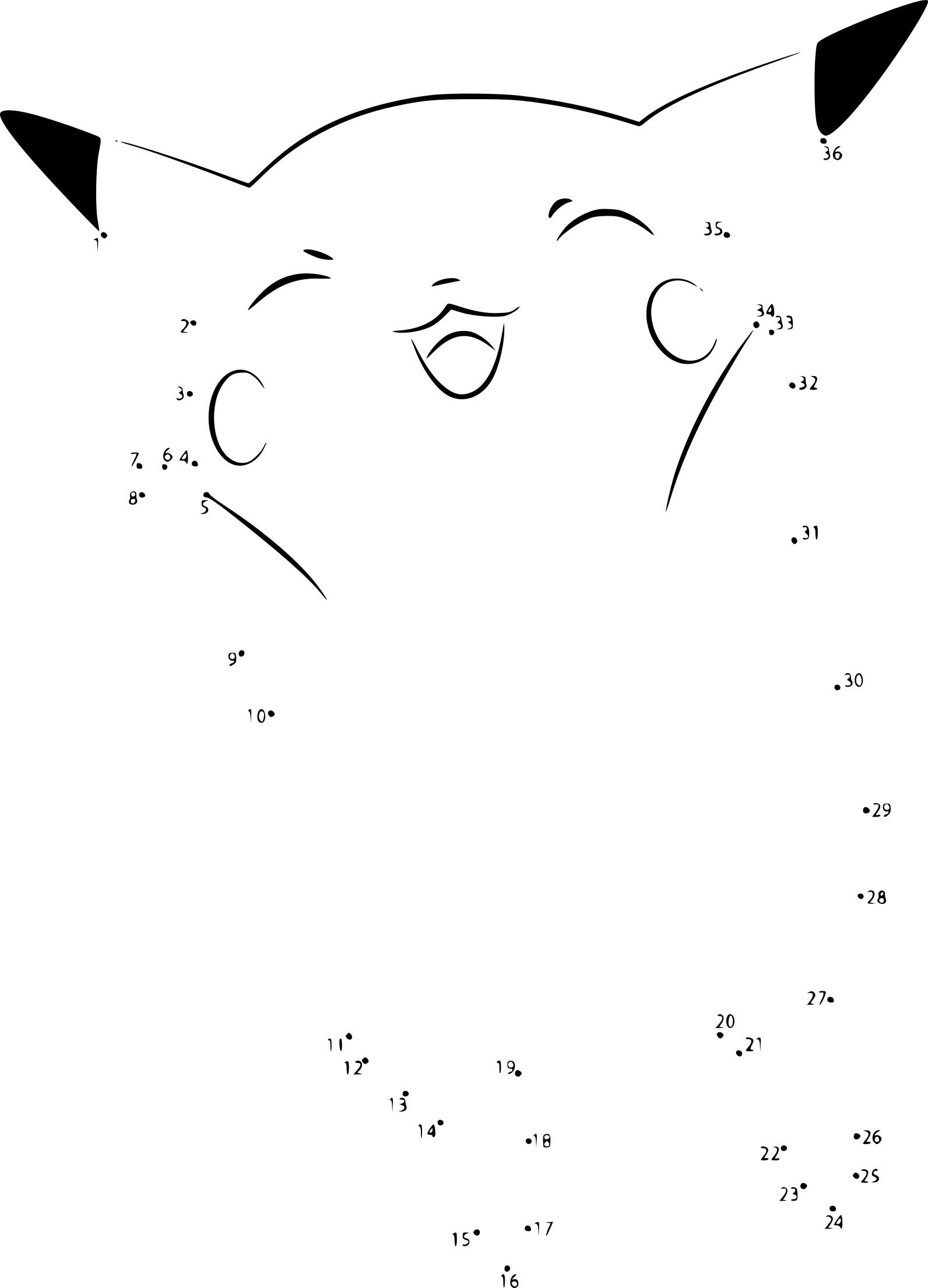Coloriage Point À Relier Pikachu A Imprimer concernant Jeux Point À Relier