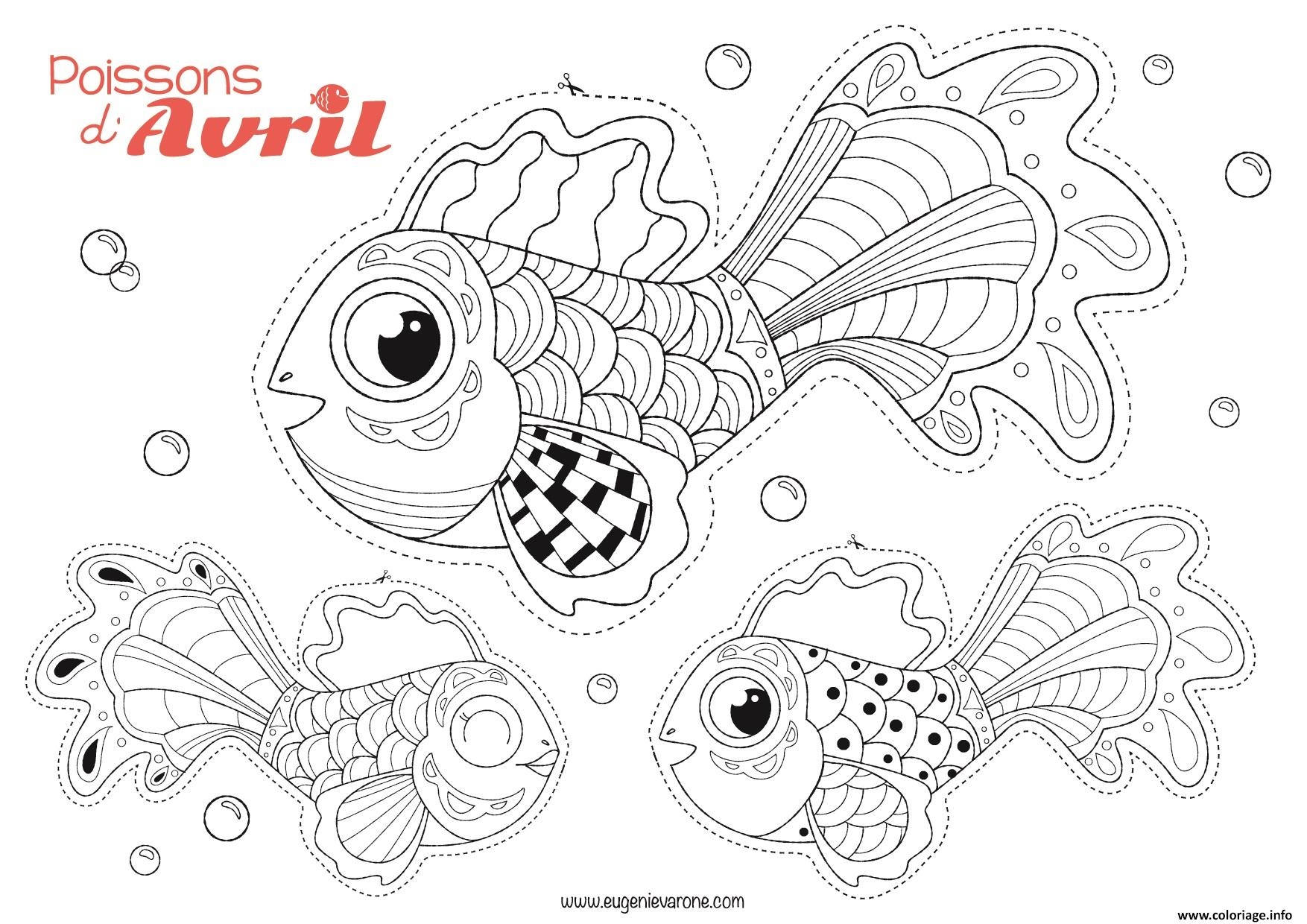 Coloriage Poisson Avril A Decouper Par Eugenie Varone Dessin concernant Dessin A Decouper Et A Imprimer