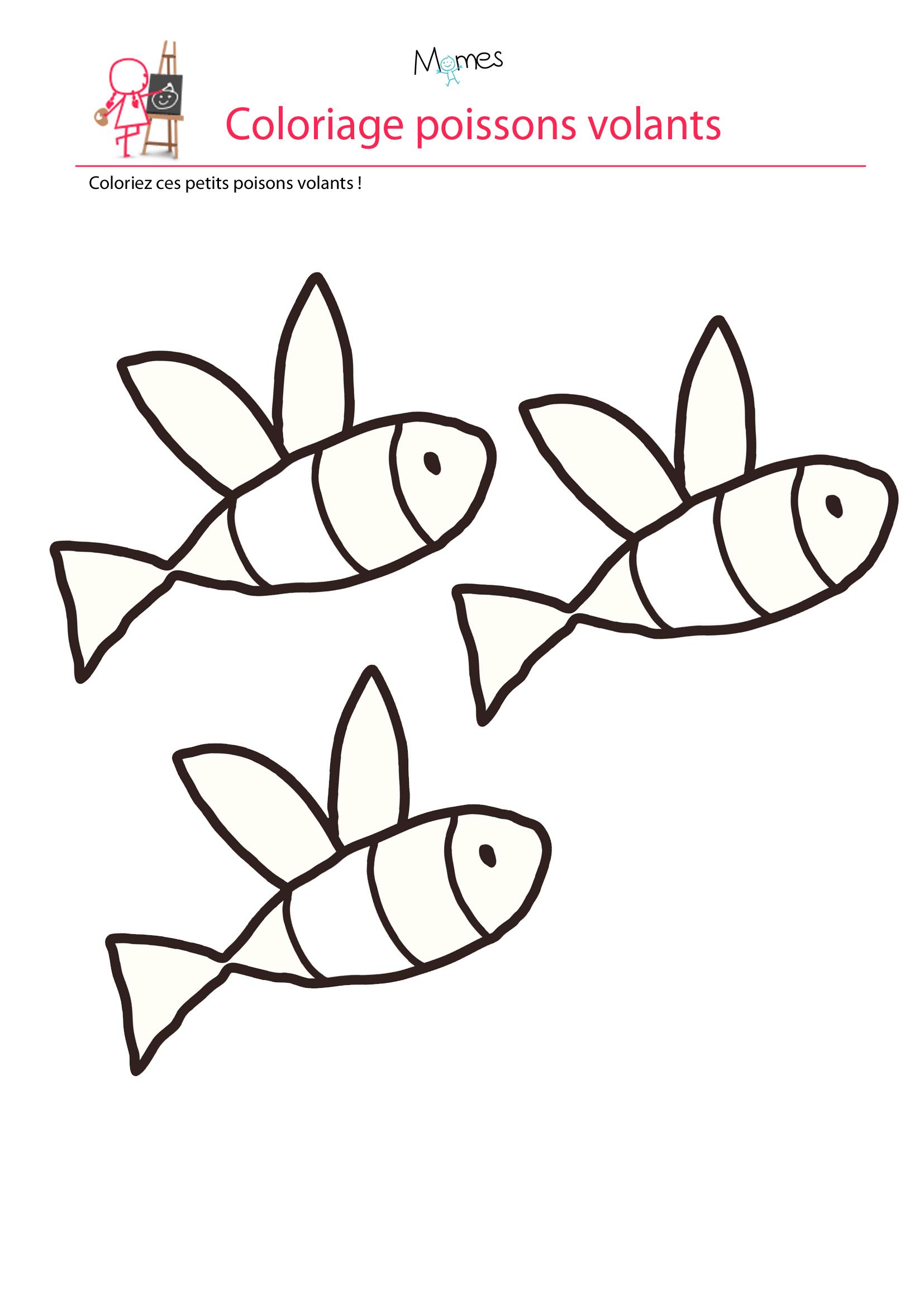 Coloriage Poisson D'avril : Les Poissons Volants - Momes concernant Coloriage En Ligne 3 Ans