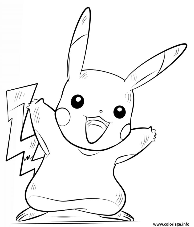 Coloriage Pokemon / Coloriages Pokémon À Imprimer ! intérieur Dessin De Pikachu Facile