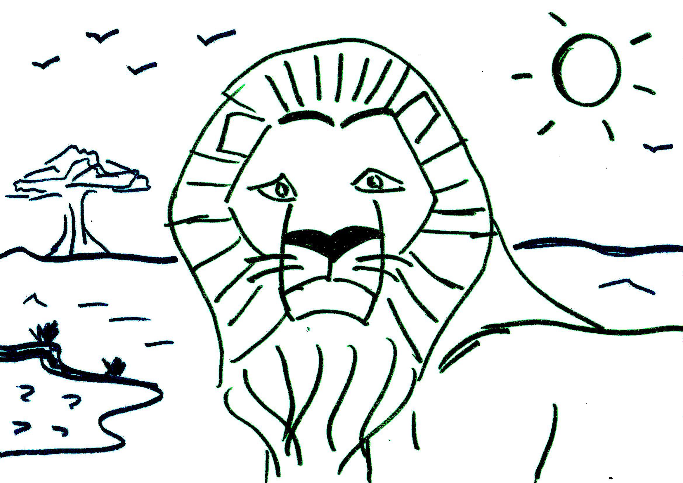 Coloriage Pour Maternelle : Lion D'afrique - Afrocaneo encequiconcerne Dessin Africain A Colorier