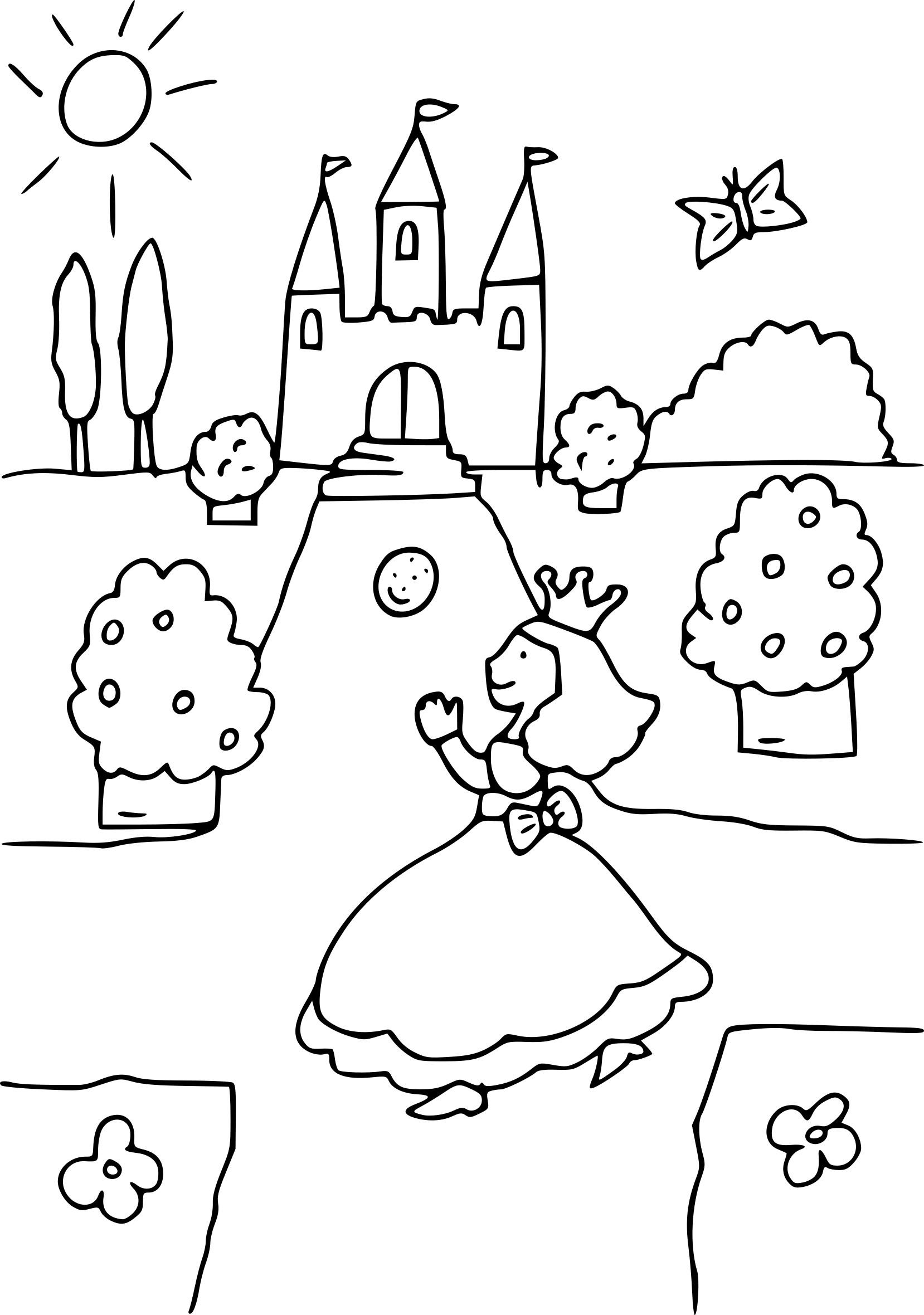 Coloriage Princesse Chateau À Imprimer Sur Coloriages intérieur Dessin Chateau Princesse