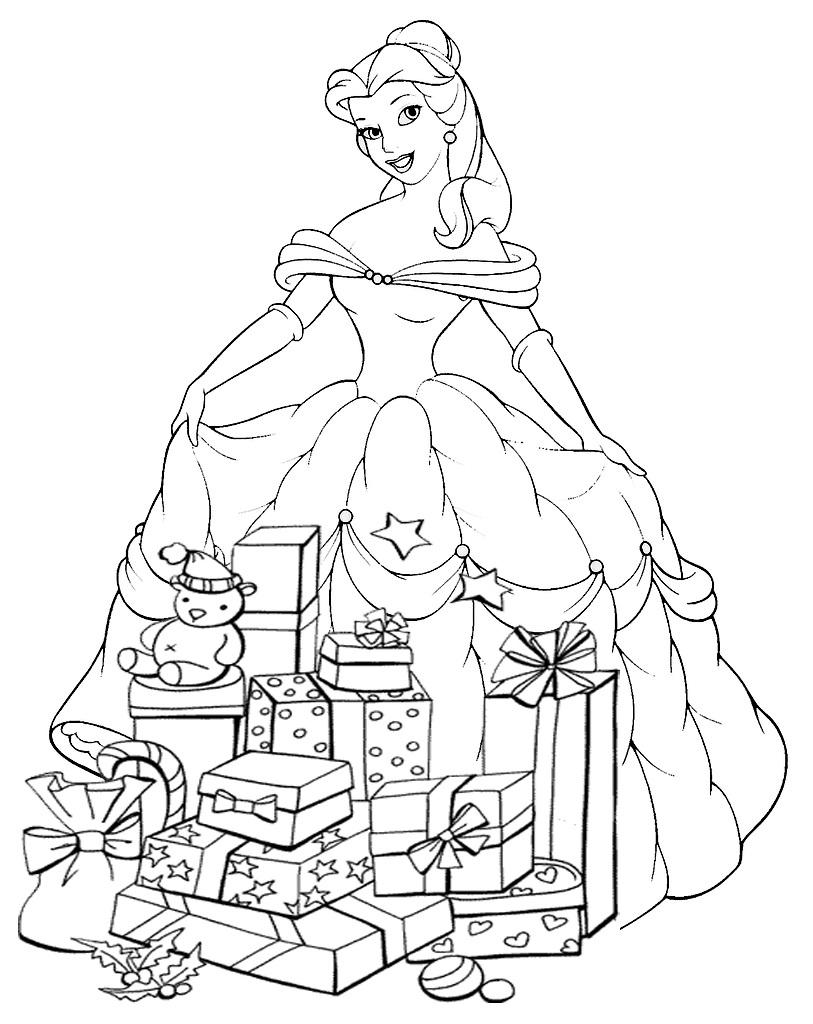 Coloriage Princesse Disney À Noël À Imprimer pour Coloriage Princesses Disney À Imprimer