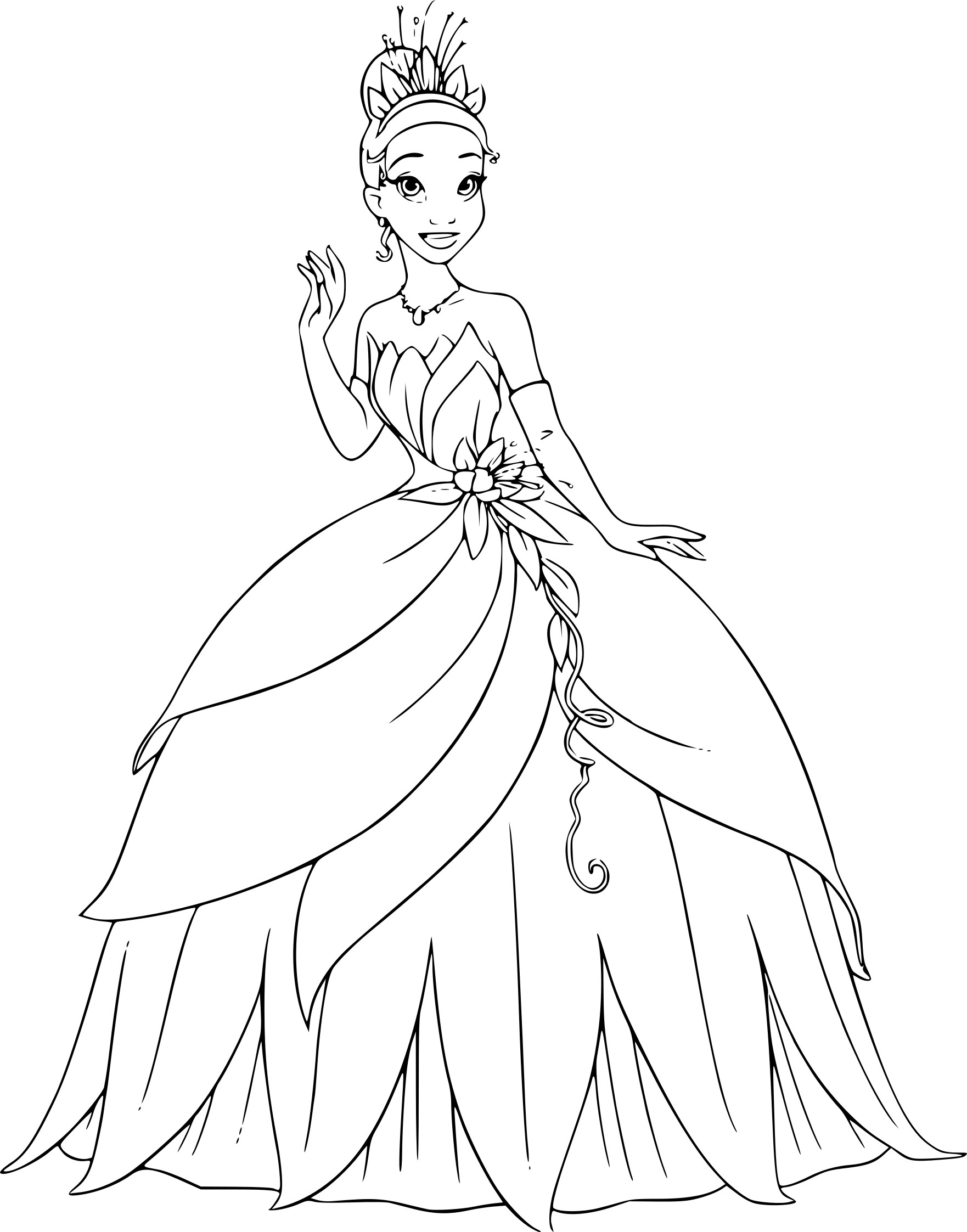 Coloriage Princesse Tiana À Imprimer - Coloriage Disney dedans Coloriage Princesses Disney À Imprimer