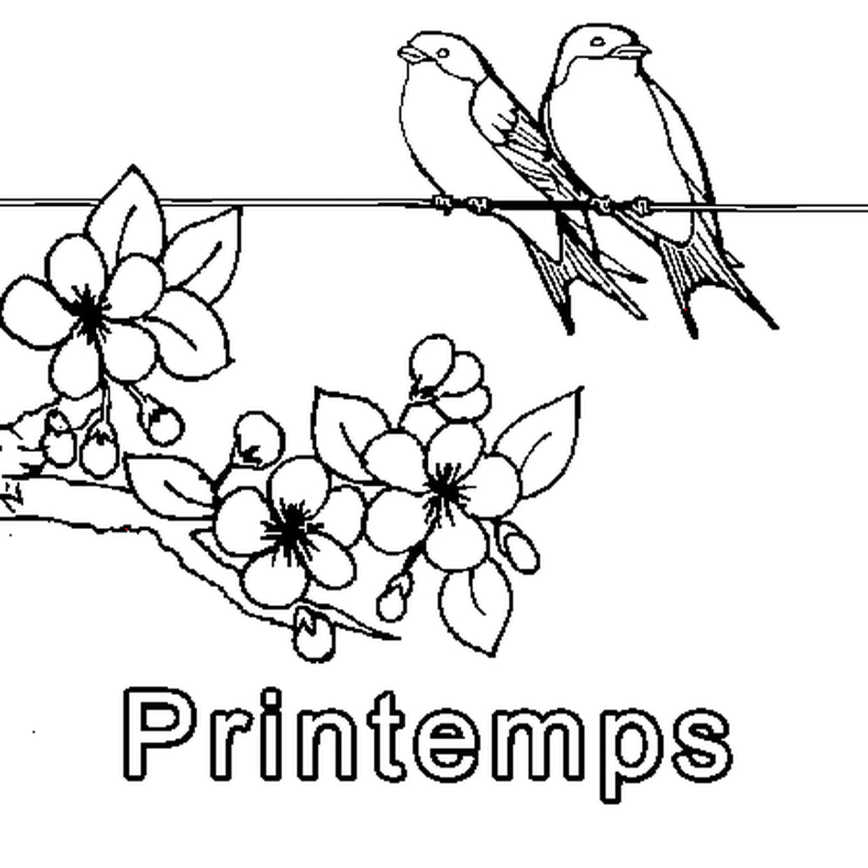 Coloriage Printemps En Ligne Gratuit À Imprimer concernant Dessin Printemps Paysage