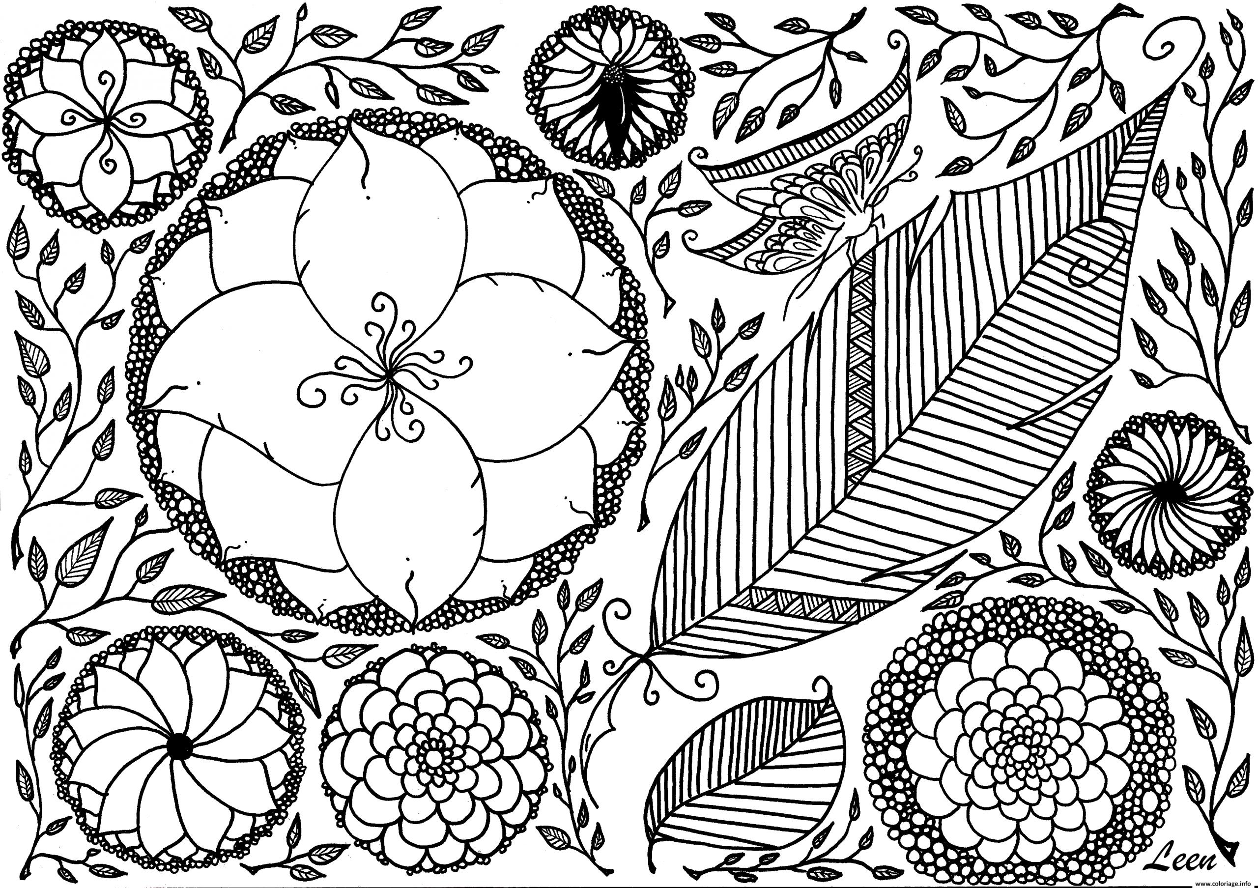 Coloriage Printemps Fleurs Papillon Roses Adulte Zen Dessin dedans Image Zen A Imprimer